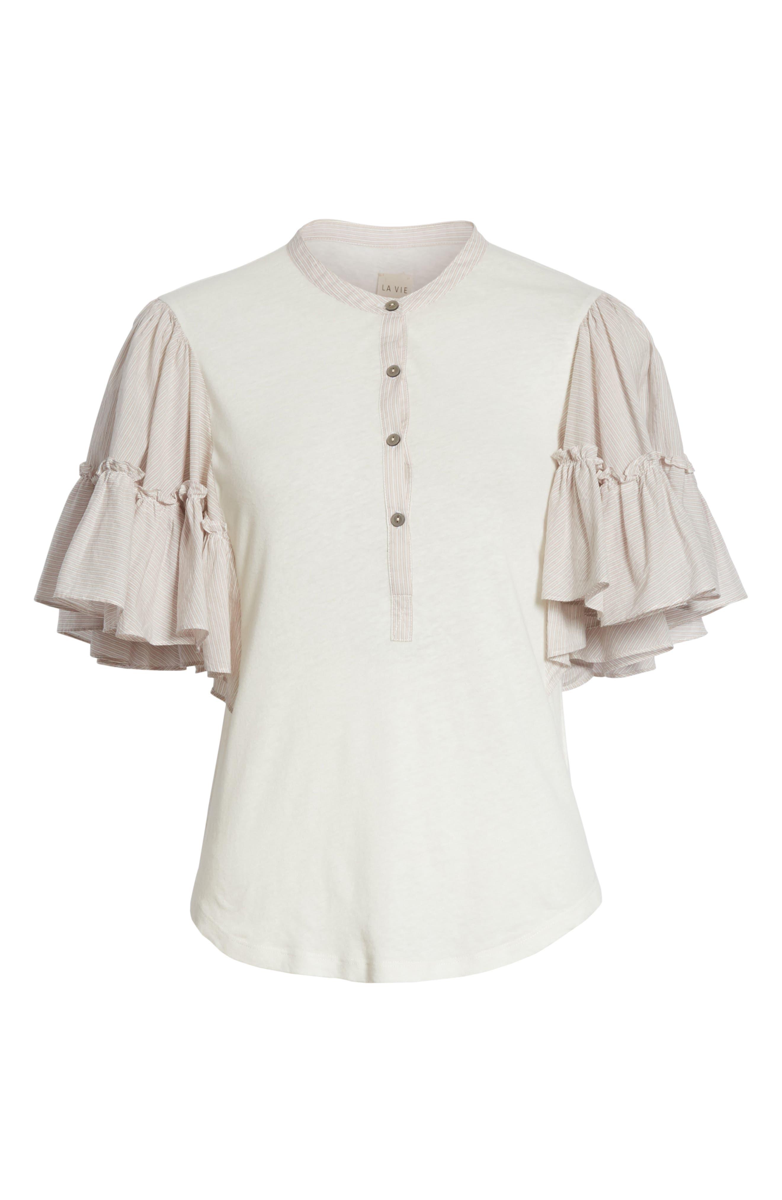 Textured Stripe Linen & Cotton Top,                             Alternate thumbnail 6, color,                             Milk