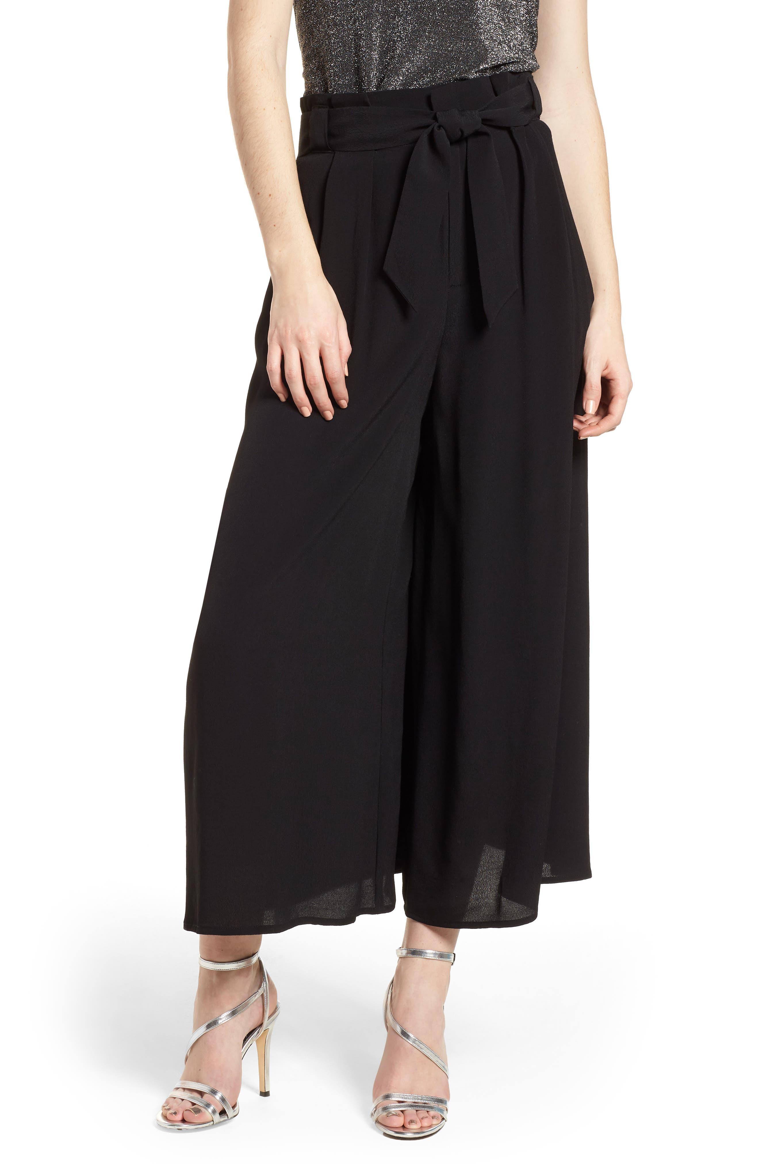 Paperbag Waist Culottes,                         Main,                         color, Black