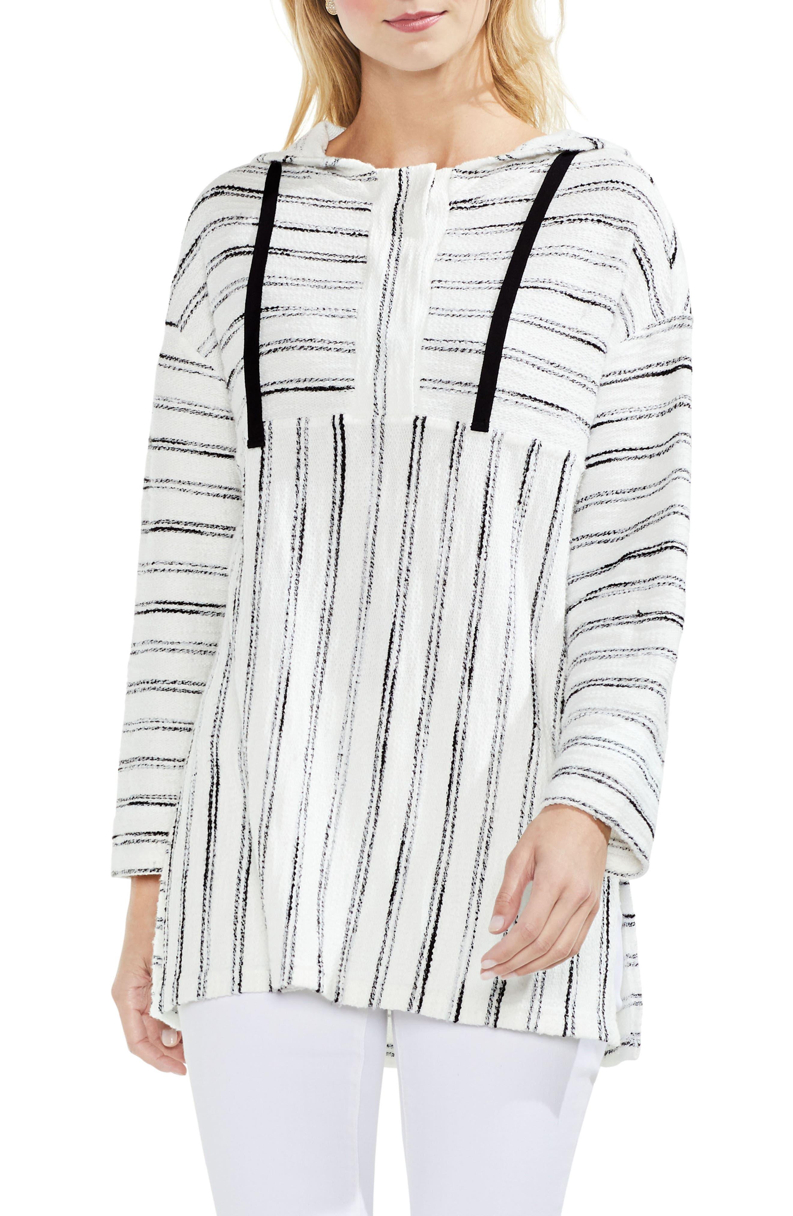 Vince Camuto Nubby Stripe Drawstring Hoodie (Regular & Petite)