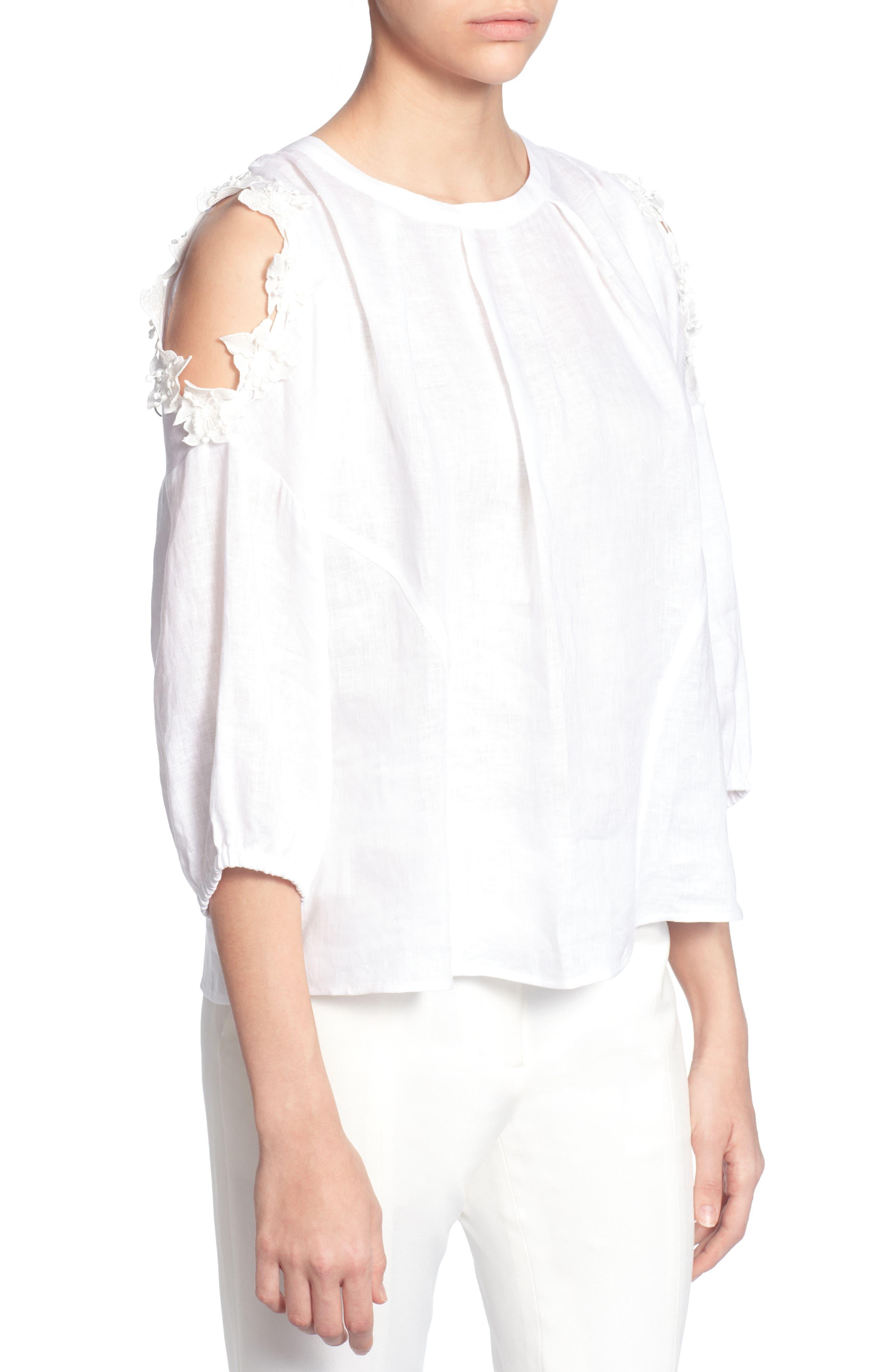 Priya Cold Shoulder Top,                             Main thumbnail 1, color,                             Bright White