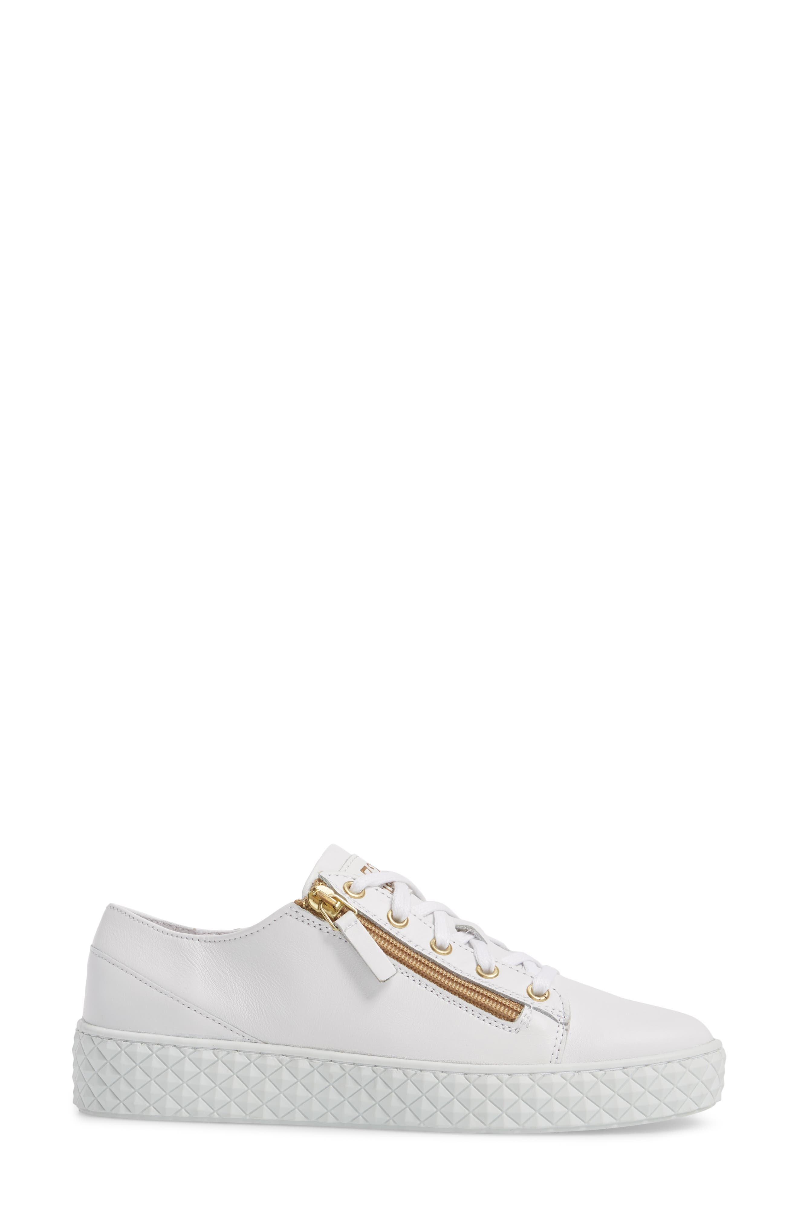 Mira Side Zip Low Top Sneaker,                             Alternate thumbnail 3, color,                             Optic White/ Gold Leather