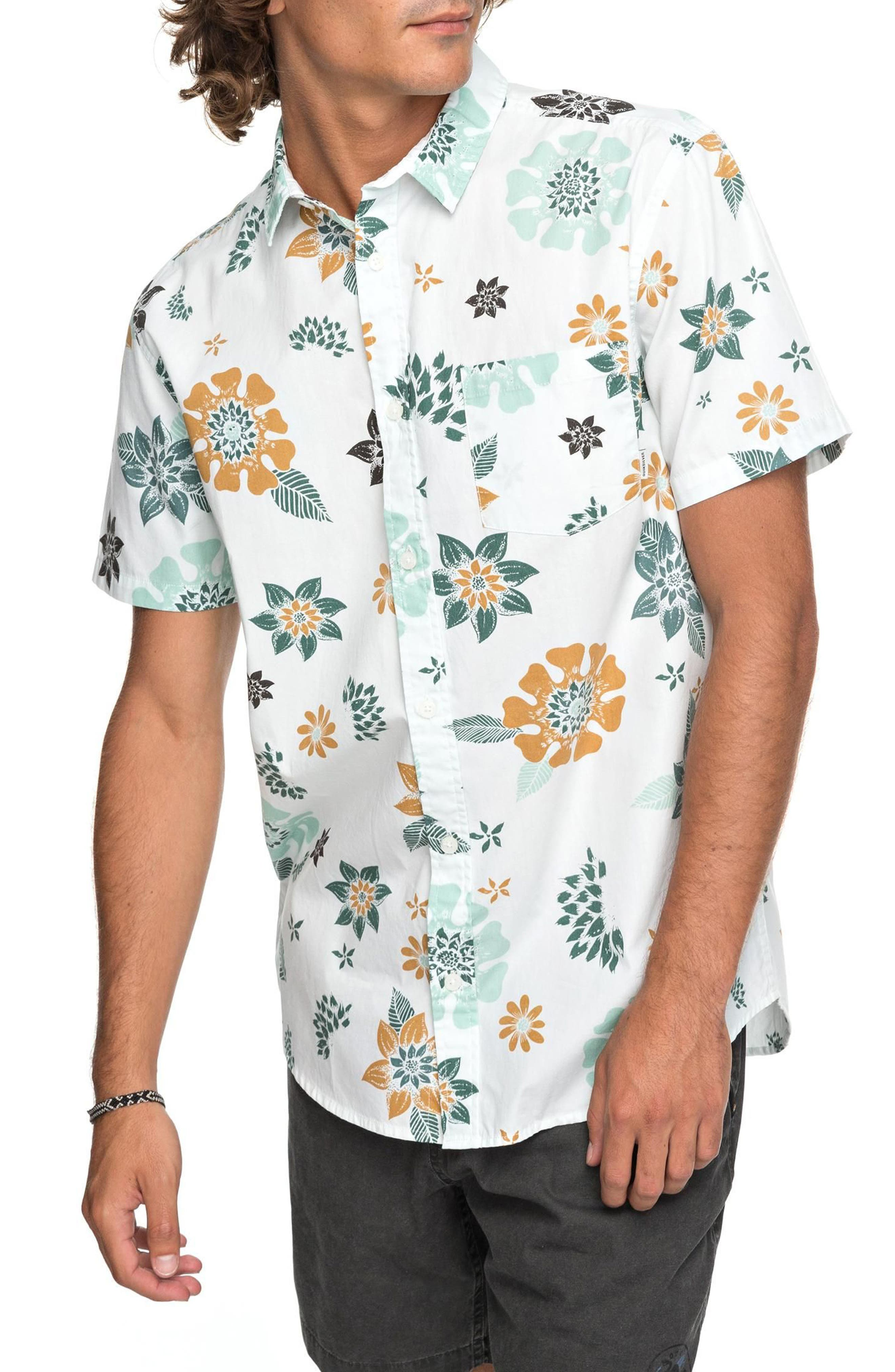 Sunset Floral Woven Shirt,                         Main,                         color, White