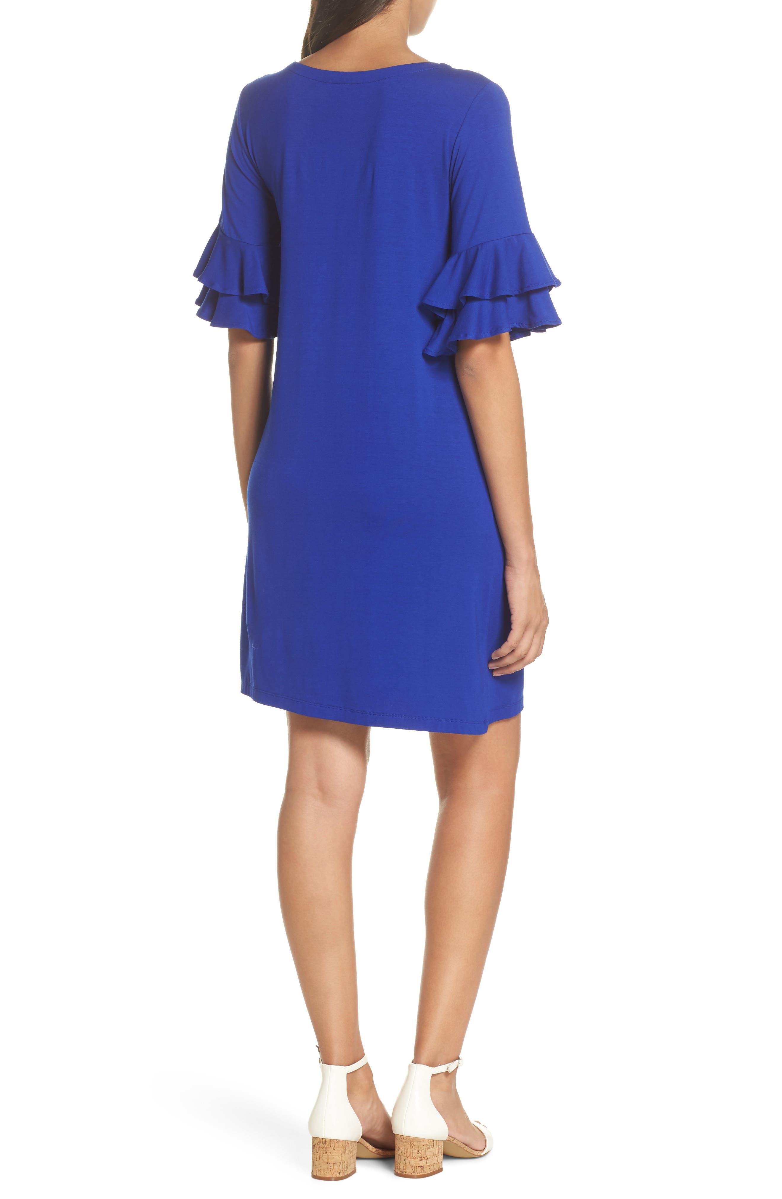 Lula Ruffle Sleeve Dress,                             Alternate thumbnail 2, color,                             Twilight Blue