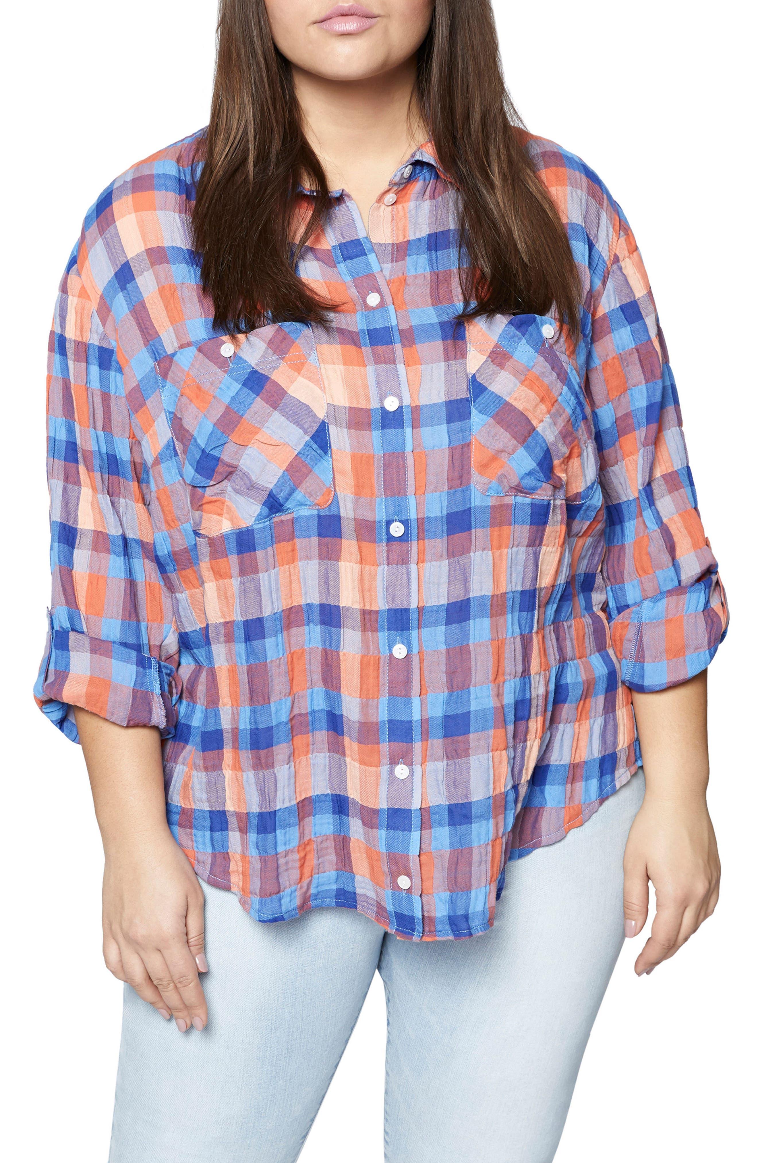 The Steady Boyfriend Plaid Shirt,                         Main,                         color, Spring Awakening