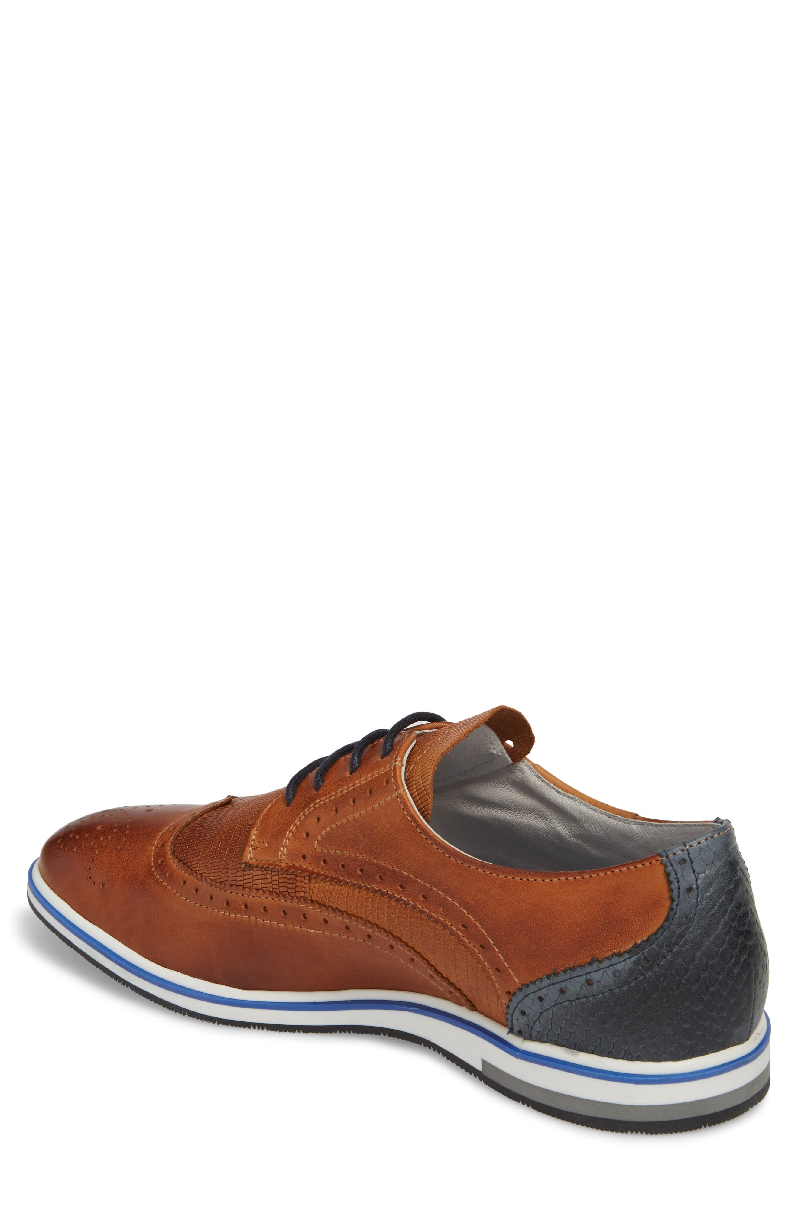 Pulsano Textured Wingtip,                             Alternate thumbnail 2, color,                             Cognac/ Denim Leather