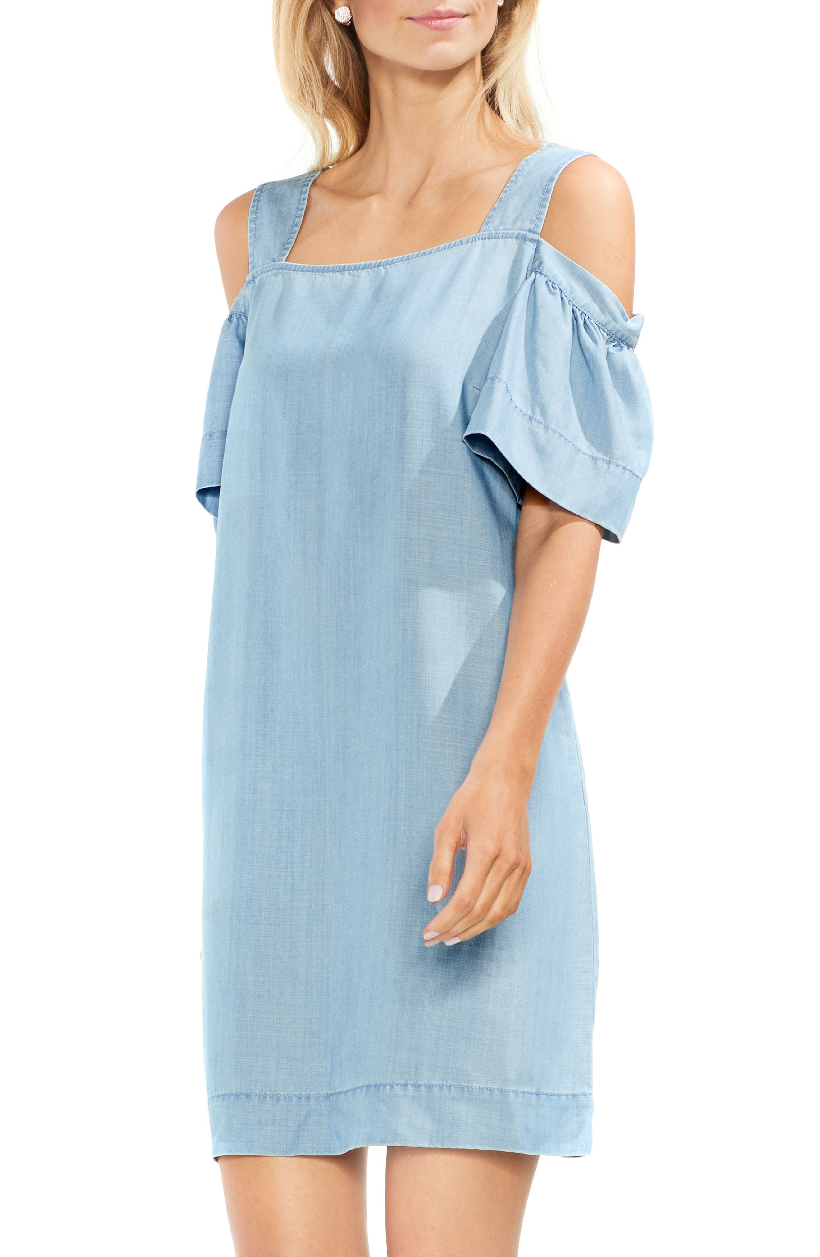 Vince Camuto Ruffle Cold Shoulder Dress