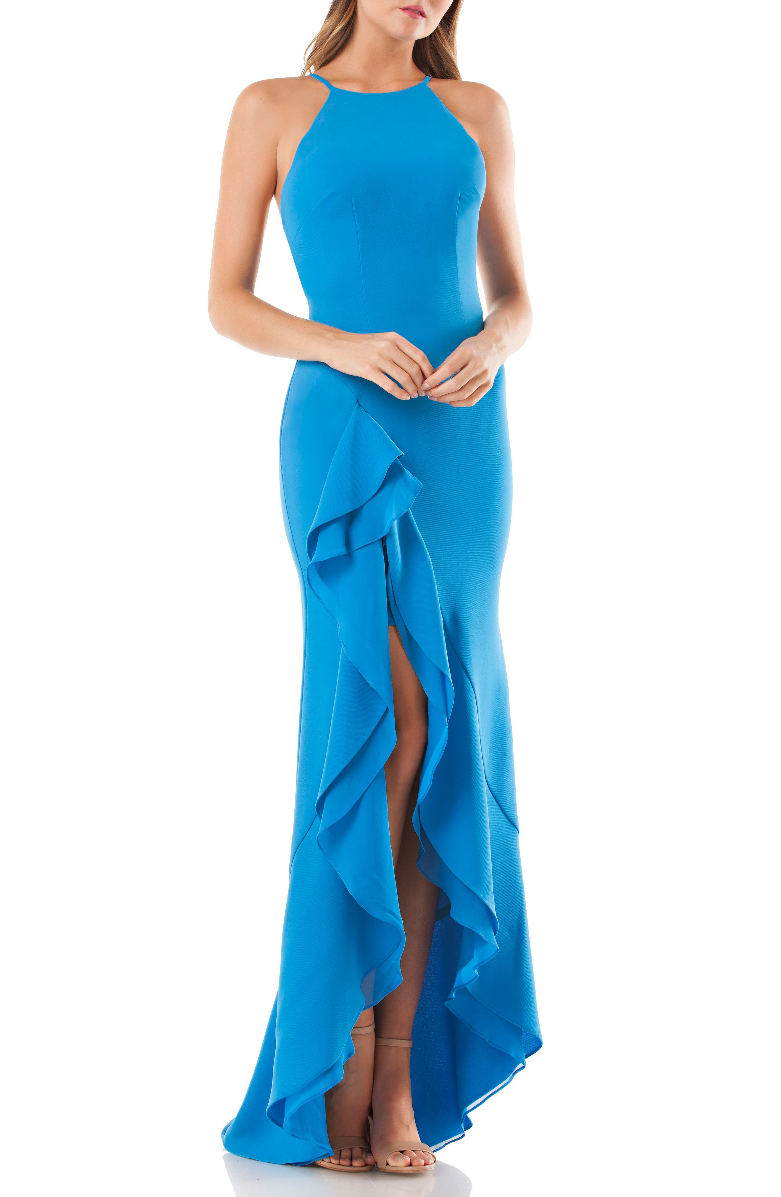 Cascading Ruffle Gown,                         Main,                         color, Peacock