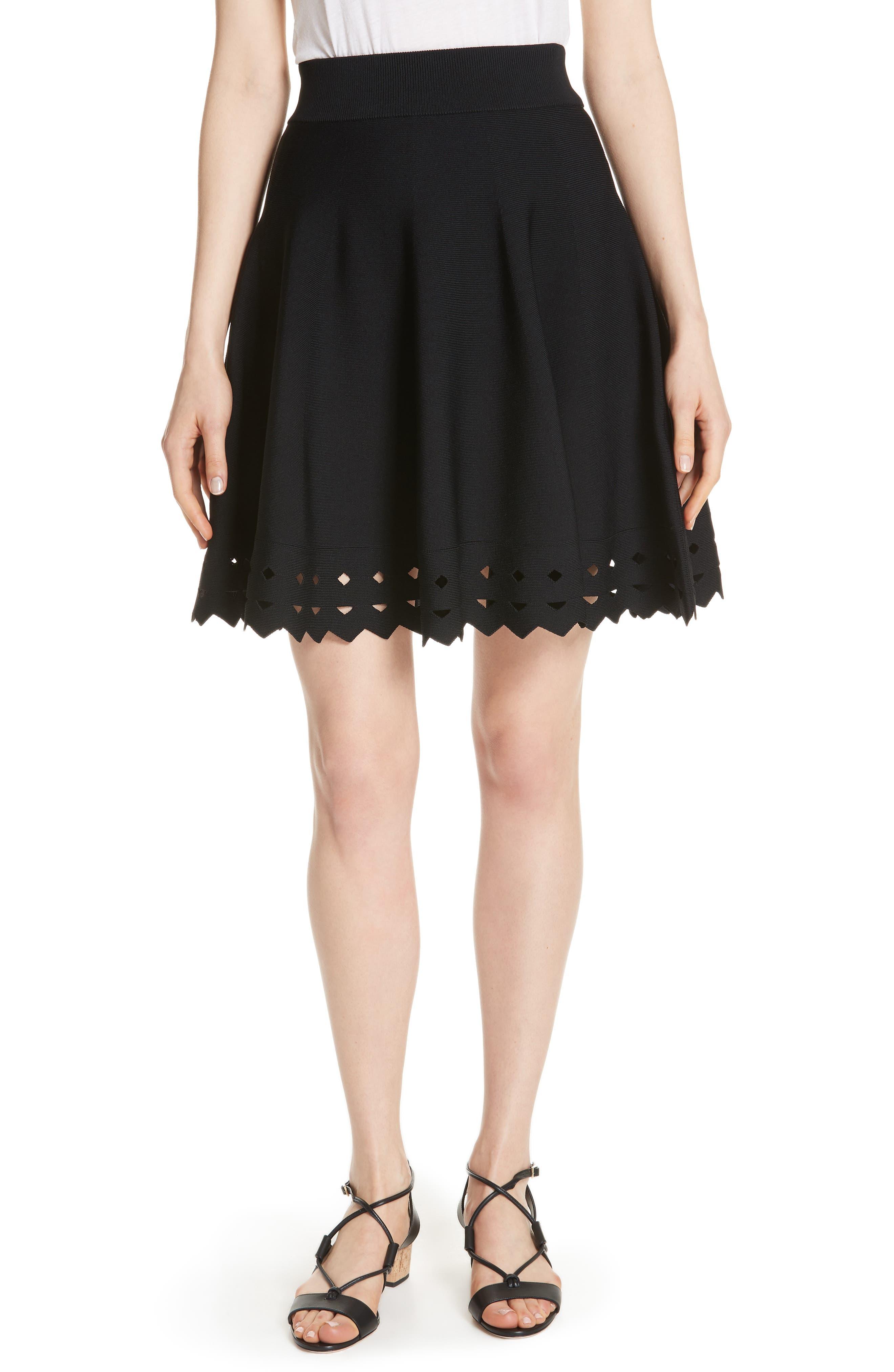 June Cutout Hem Skirt,                         Main,                         color, Black 210
