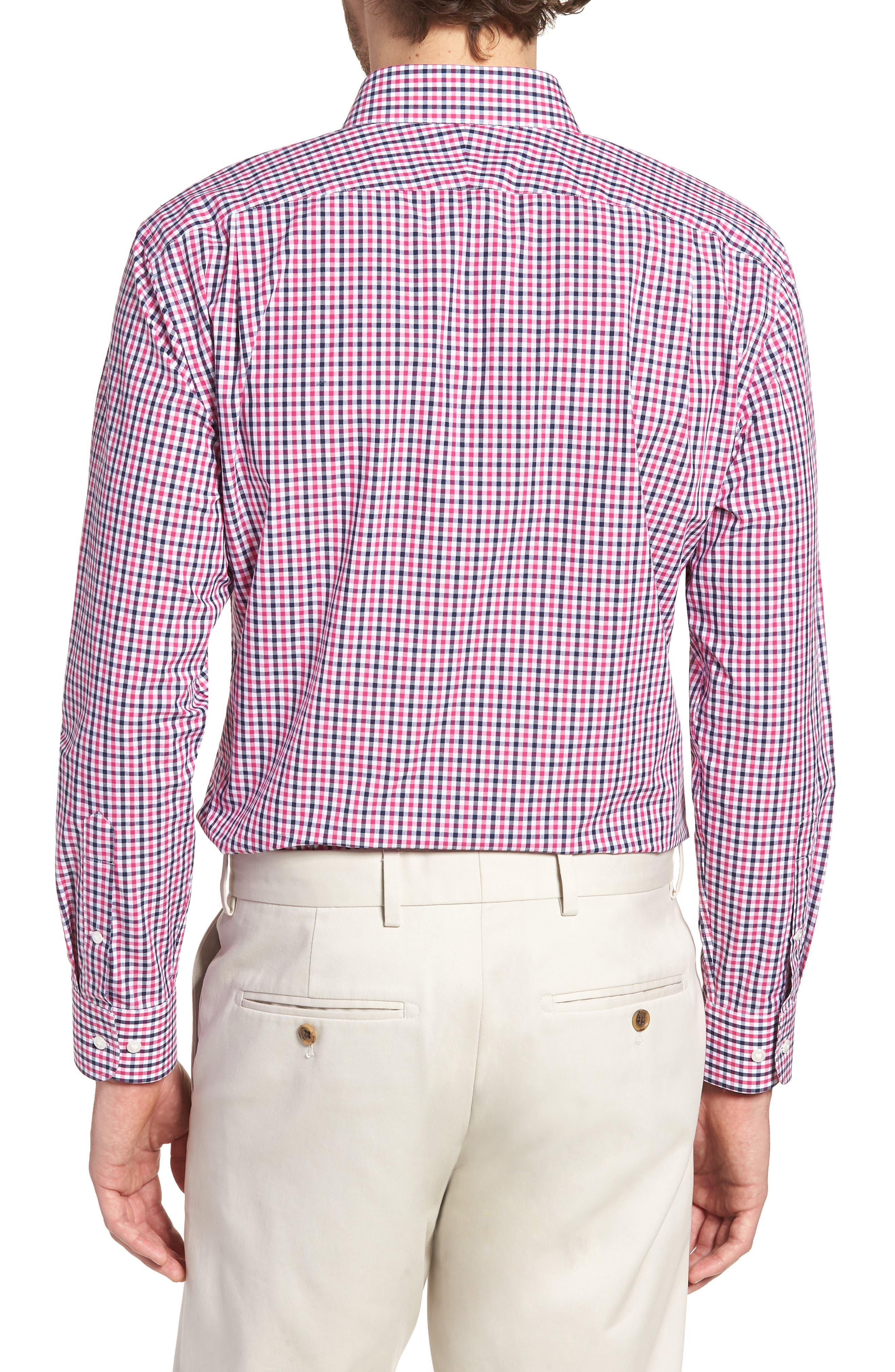 Trim Fit Check Dress Shirt,                             Alternate thumbnail 3, color,                             Pink Berry