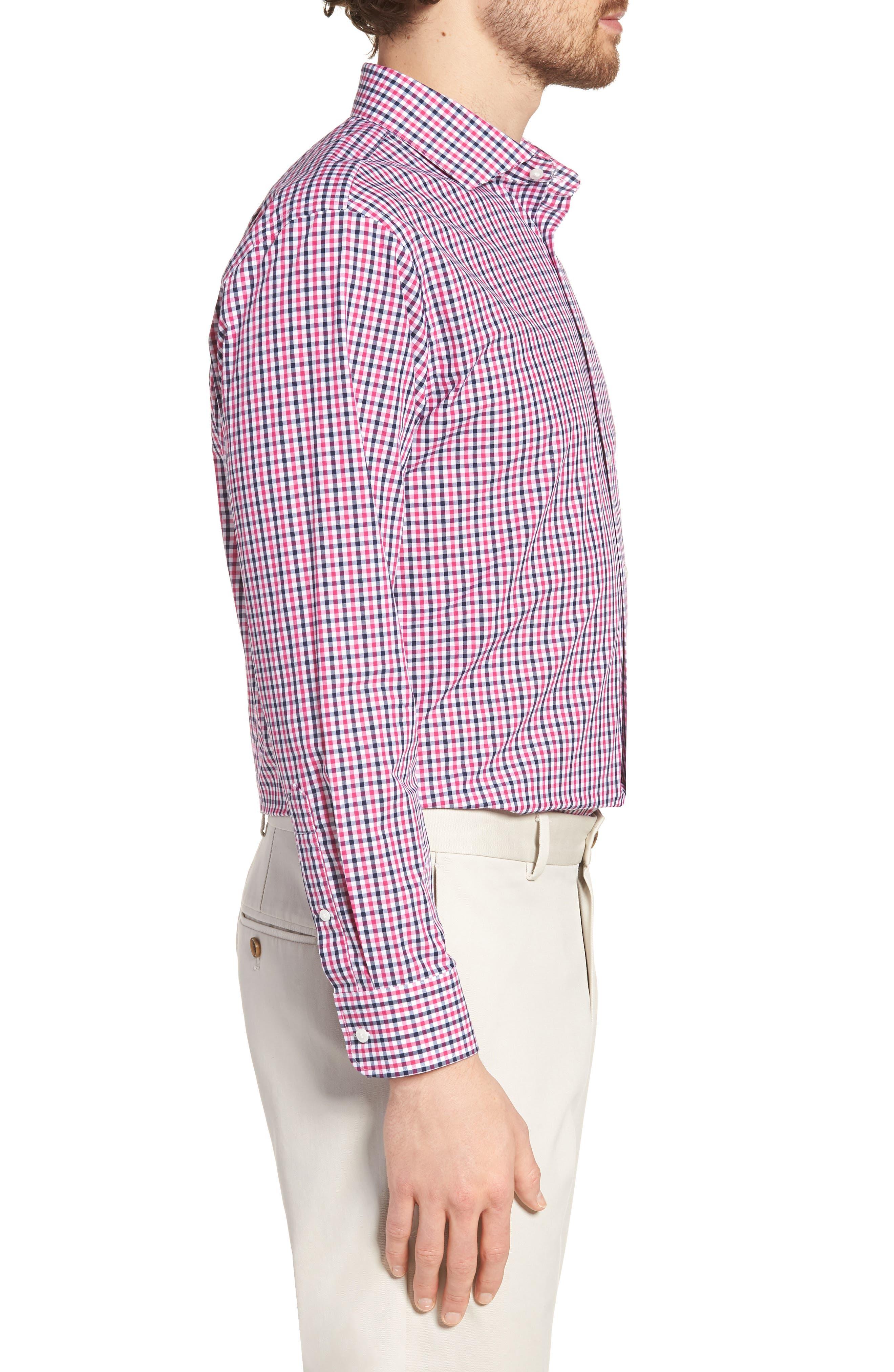 Trim Fit Check Dress Shirt,                             Alternate thumbnail 4, color,                             Pink Berry