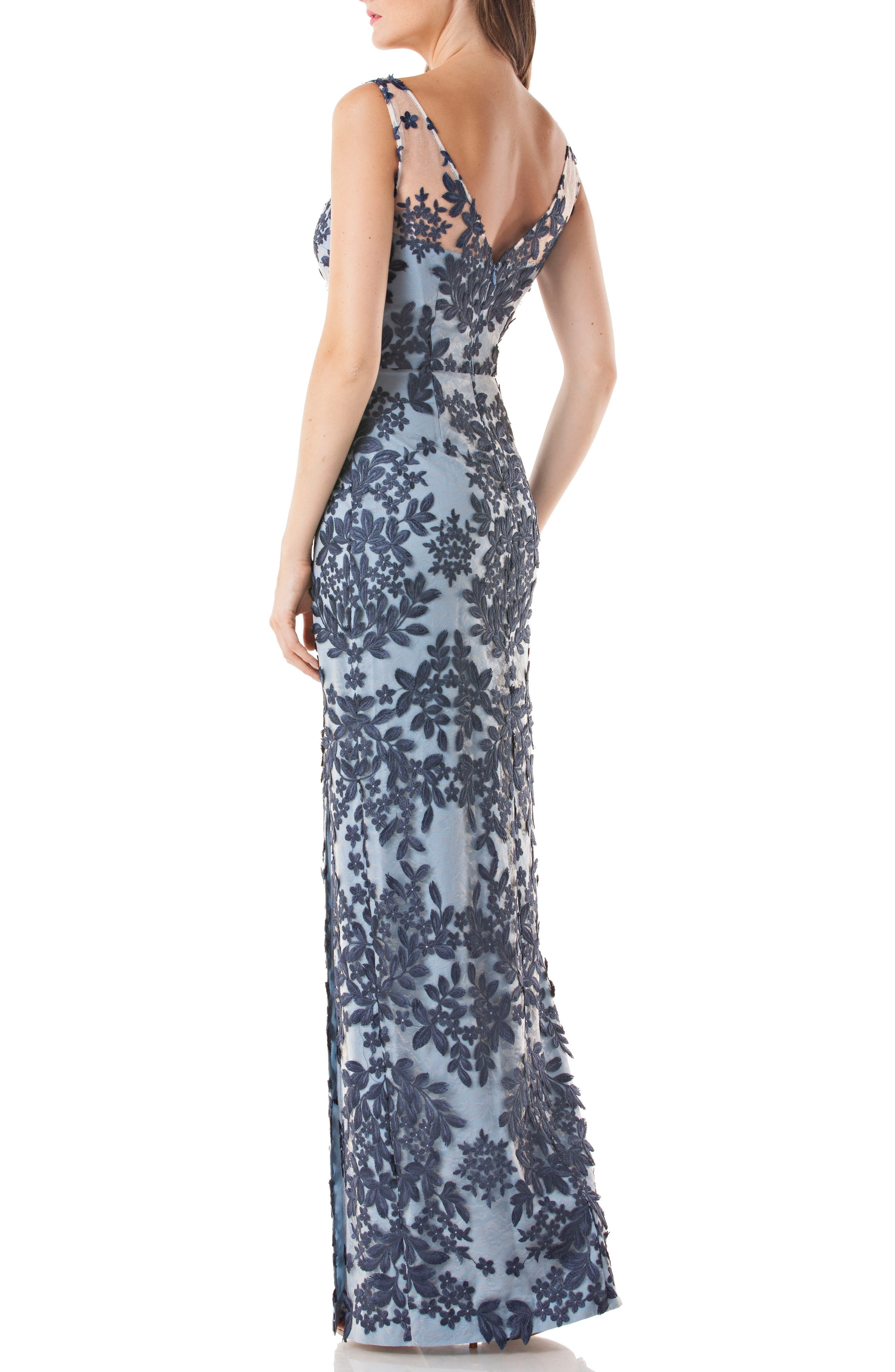 Leaf Embroidered Gown,                             Alternate thumbnail 2, color,                             Navy