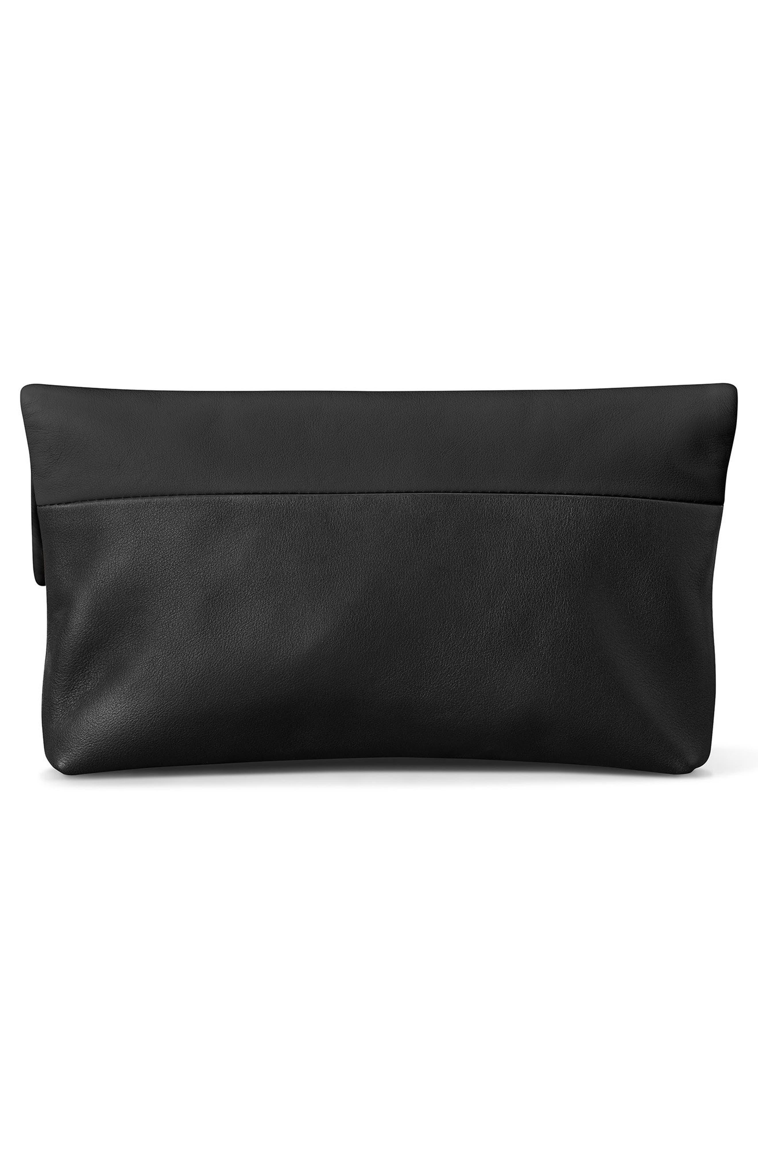 Birdy Leather Foldover Clutch,                             Alternate thumbnail 2, color,                             Black
