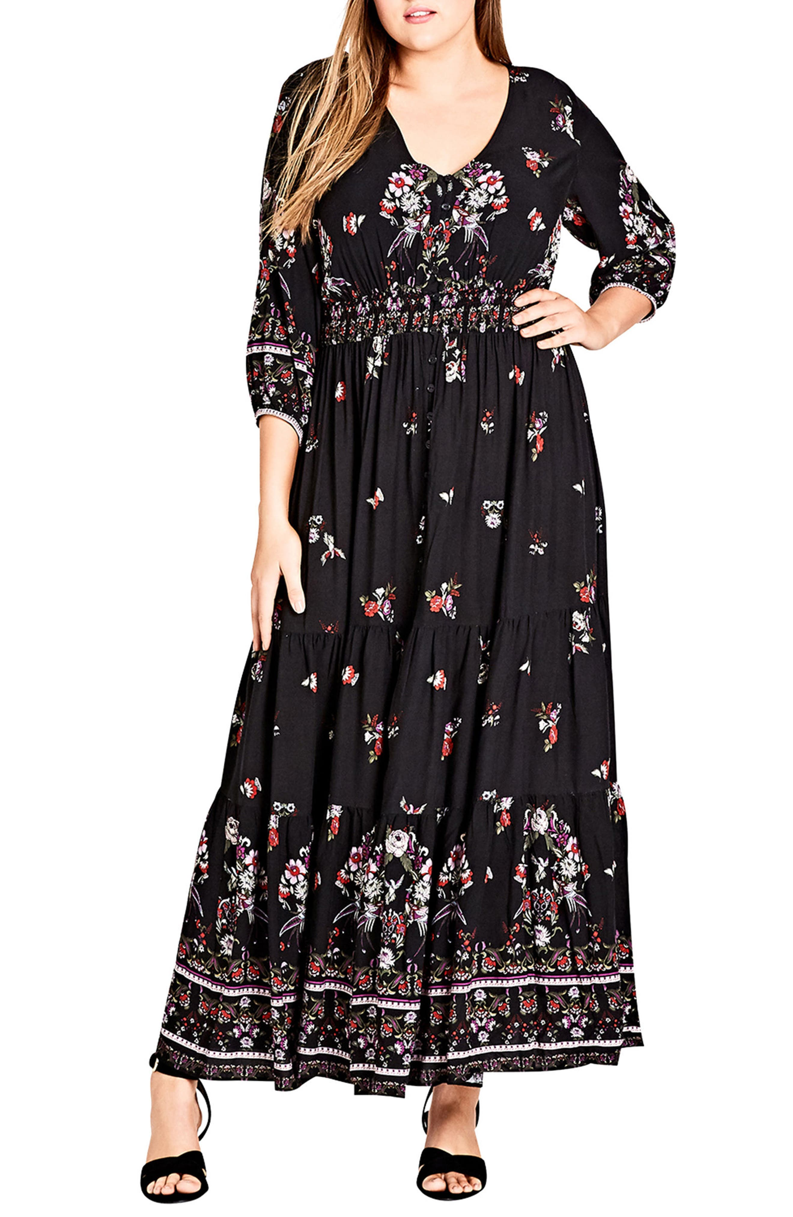City Chic Peacock Love Maxi Dress (Plus Size)