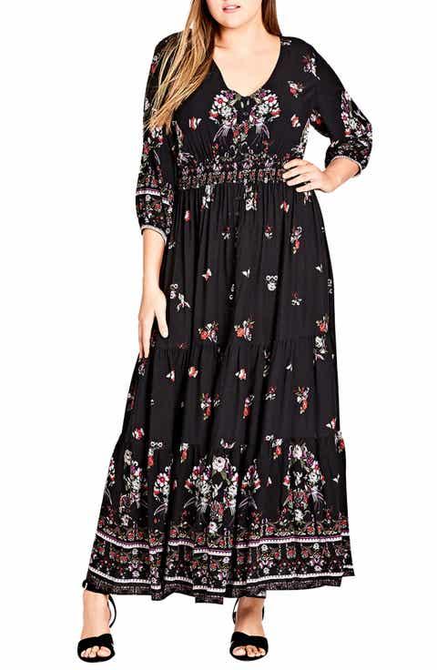 City Chic Peacock Love Maxi Dress (Plus Size)