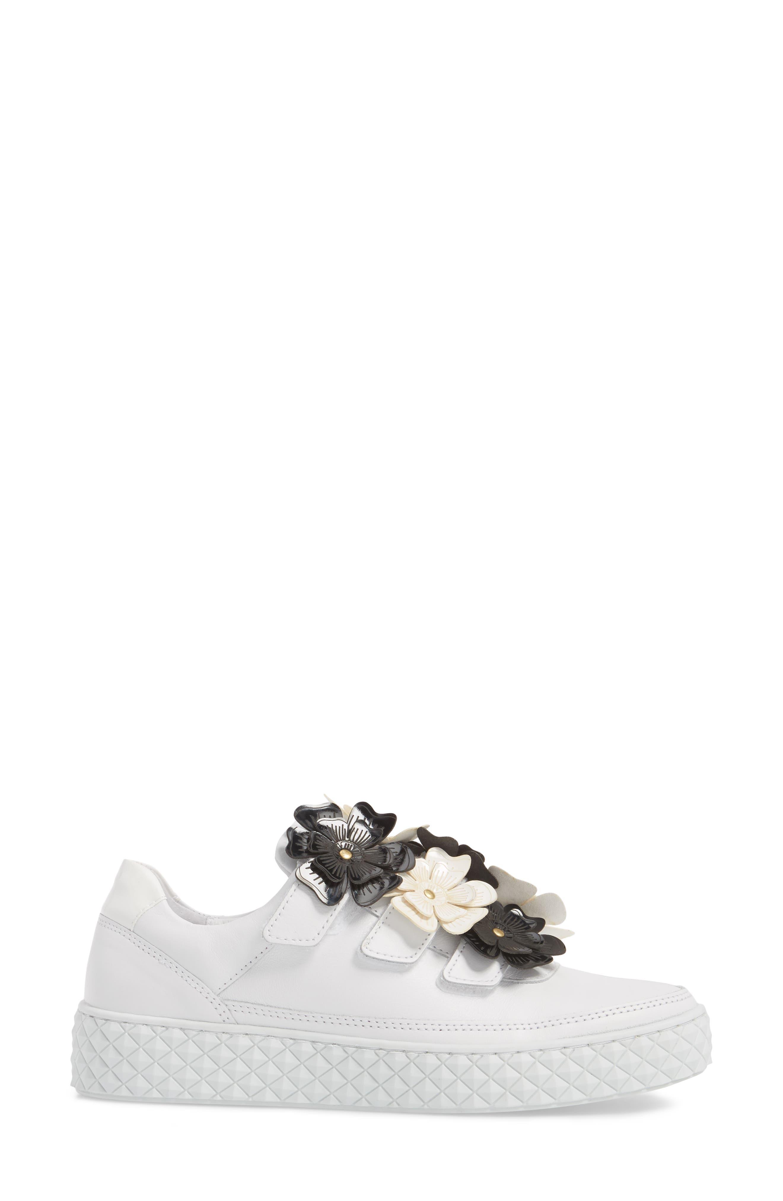 Hurou Embellished Sneaker,                             Alternate thumbnail 3, color,                             Optic White/ Black Leather