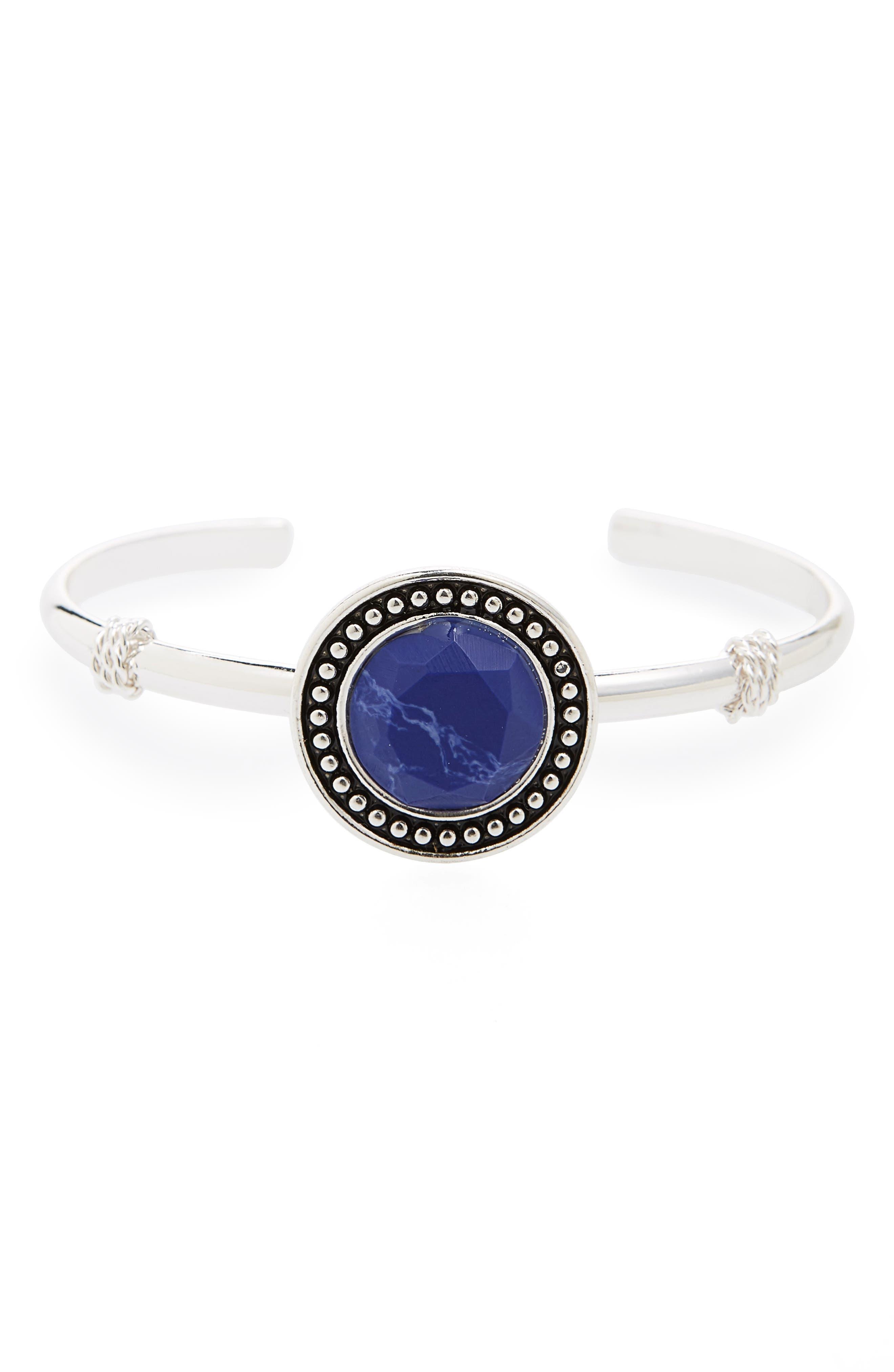 Blue Stone Cuff,                         Main,                         color, Blue