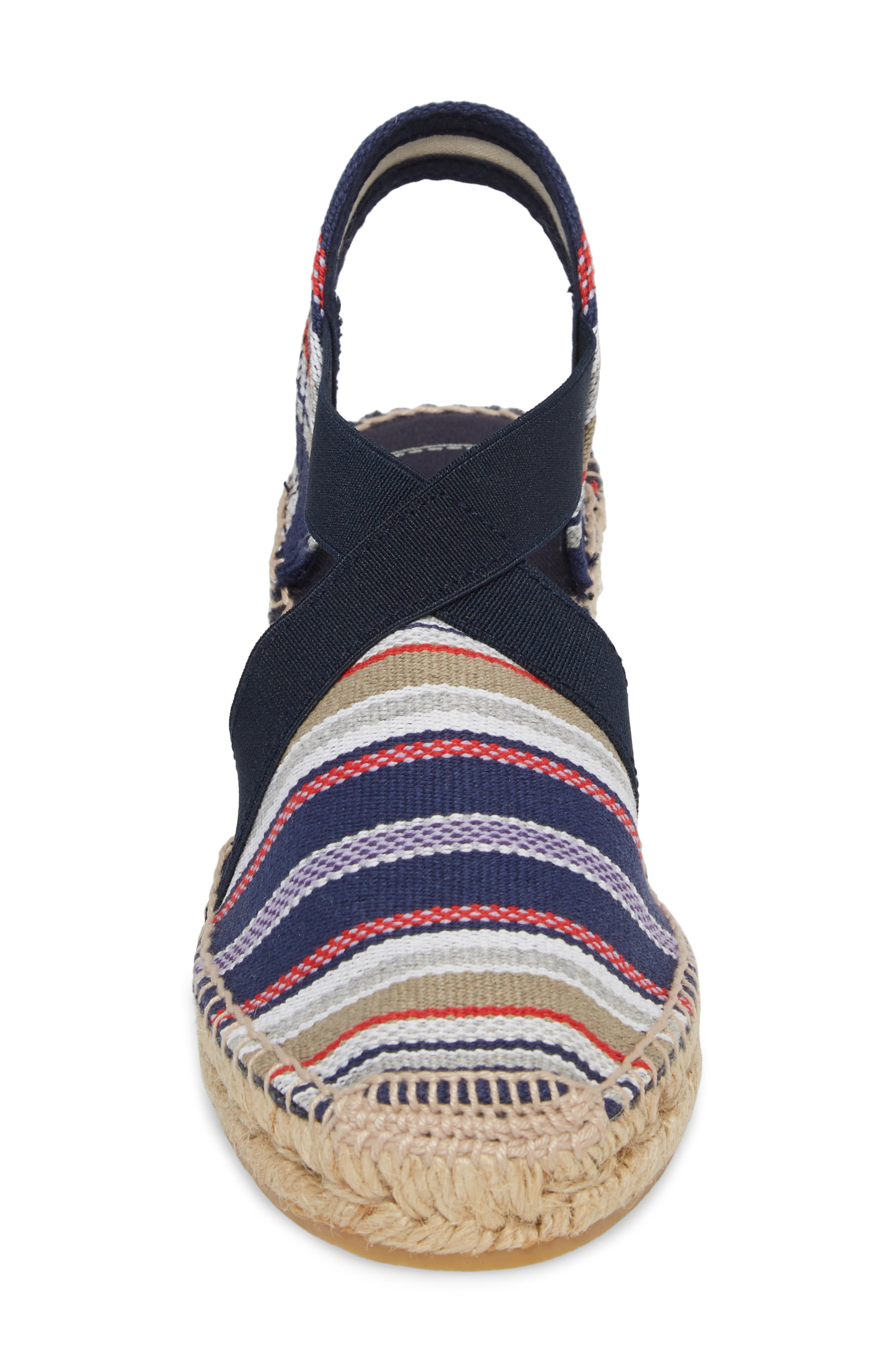 'Tarbes' Espadrille Wedge Sandal,                             Alternate thumbnail 4, color,                             Navy Fabric
