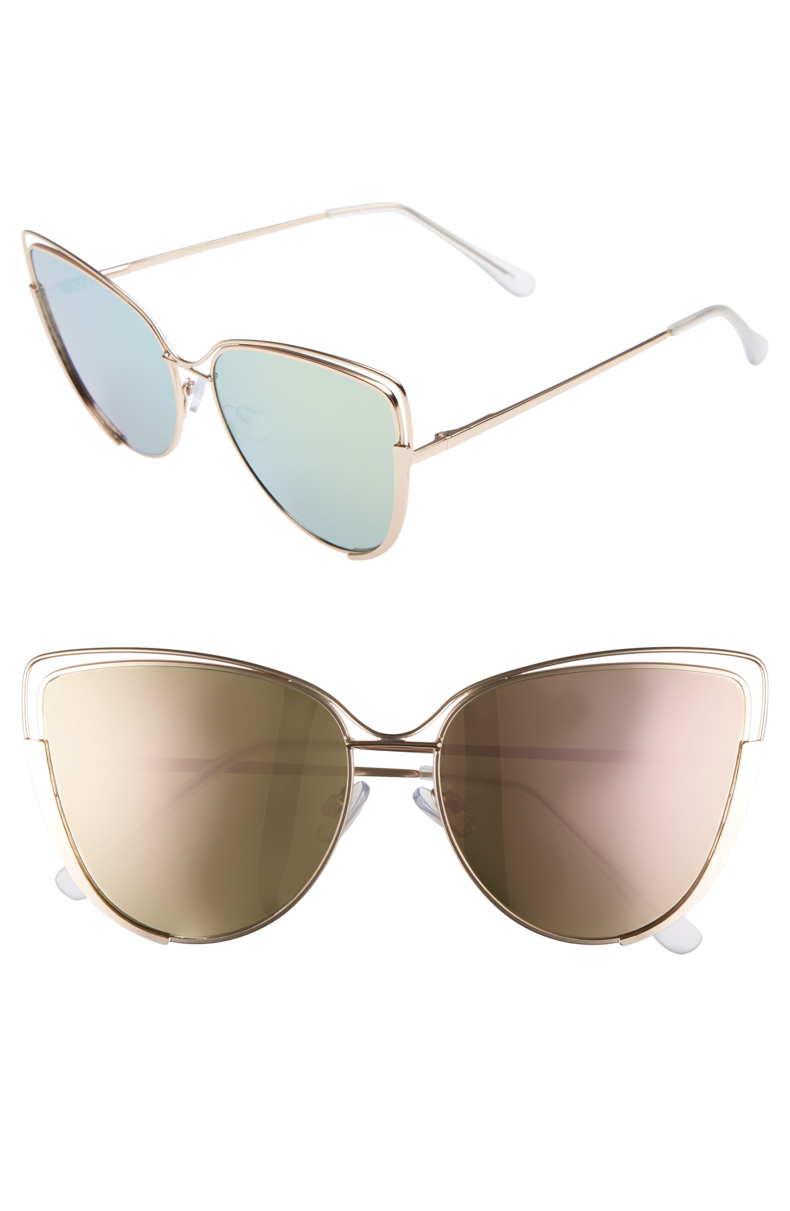 Futuristic Cat Eye Sunglasses,                         Main,                         color, Gold