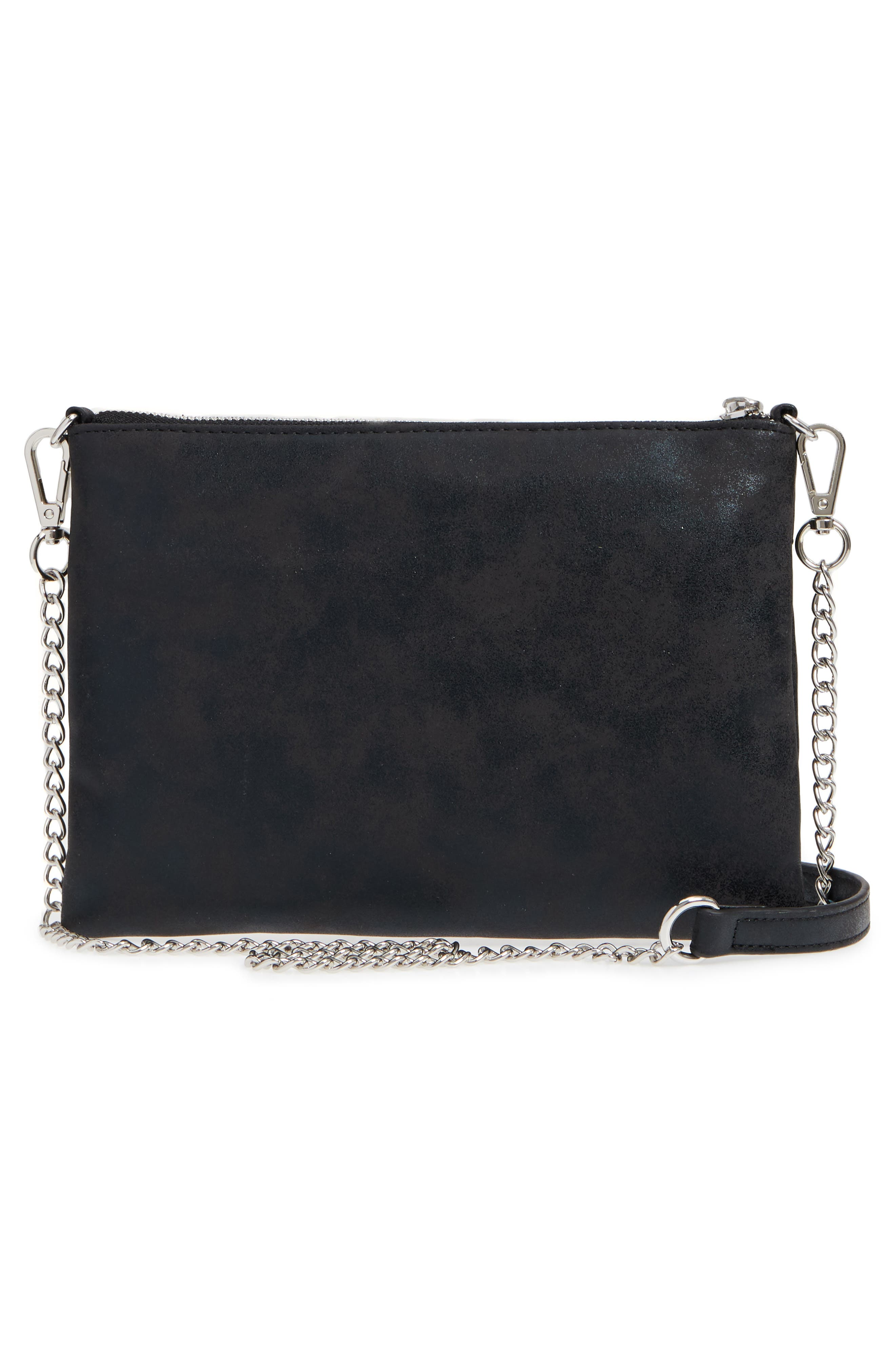 Astley Faux Leather Clutch,                             Alternate thumbnail 7, color,                             Black
