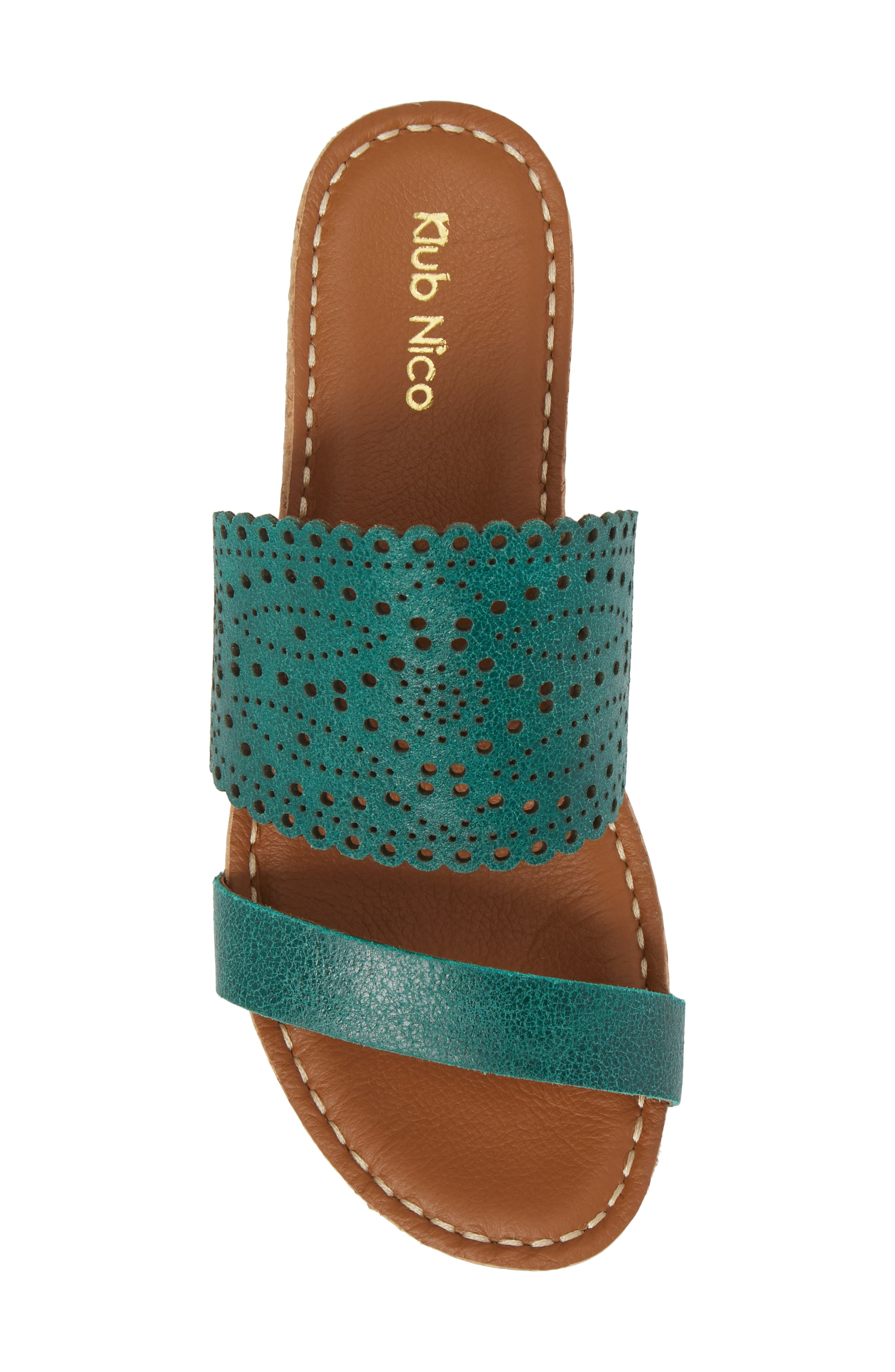 Ginette Perforated Slide Sandal,                             Alternate thumbnail 5, color,                             Ivy Leather