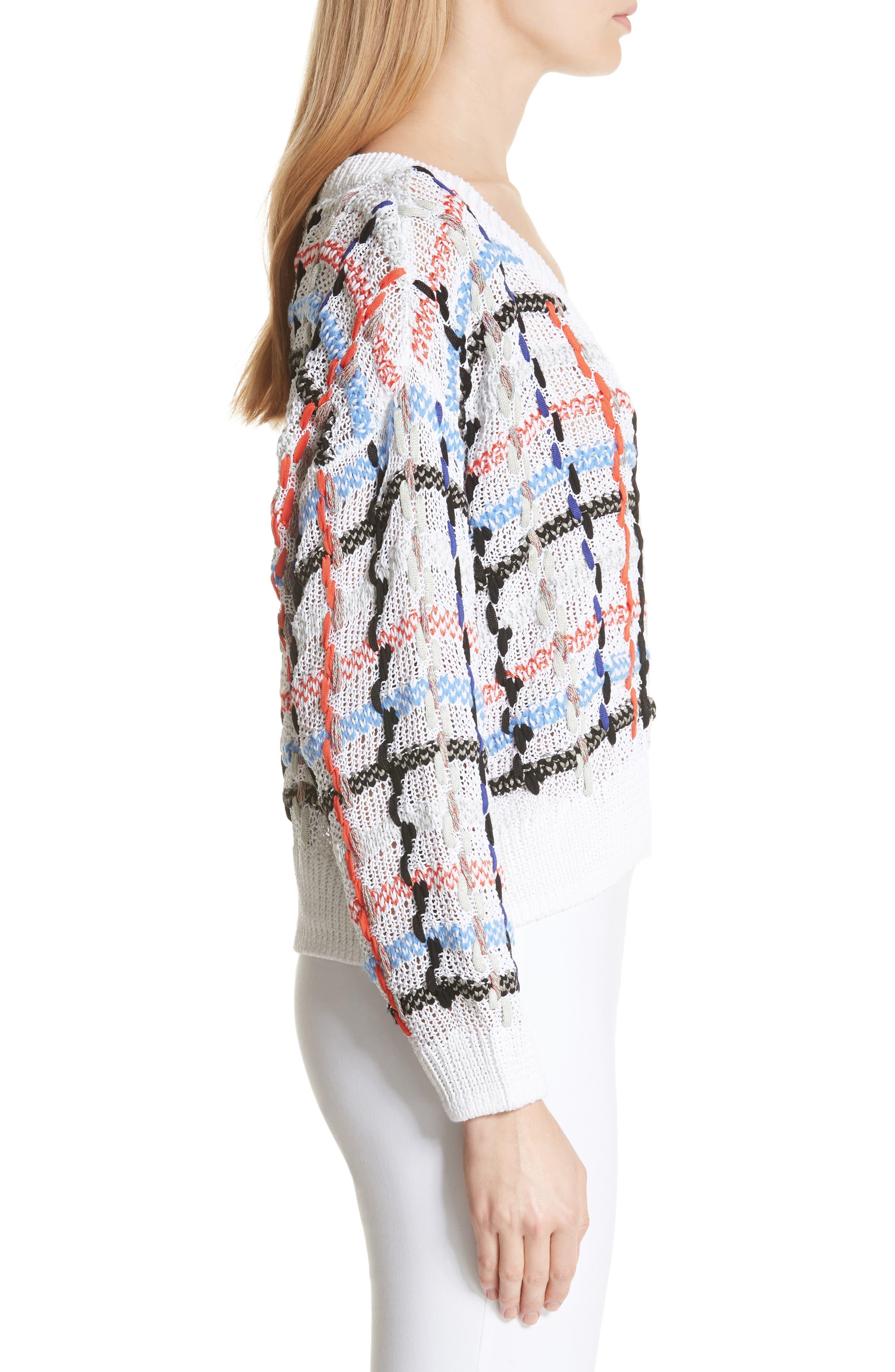 Lloyd Ribbon Detail Plaid Sweater,                             Alternate thumbnail 3, color,                             White