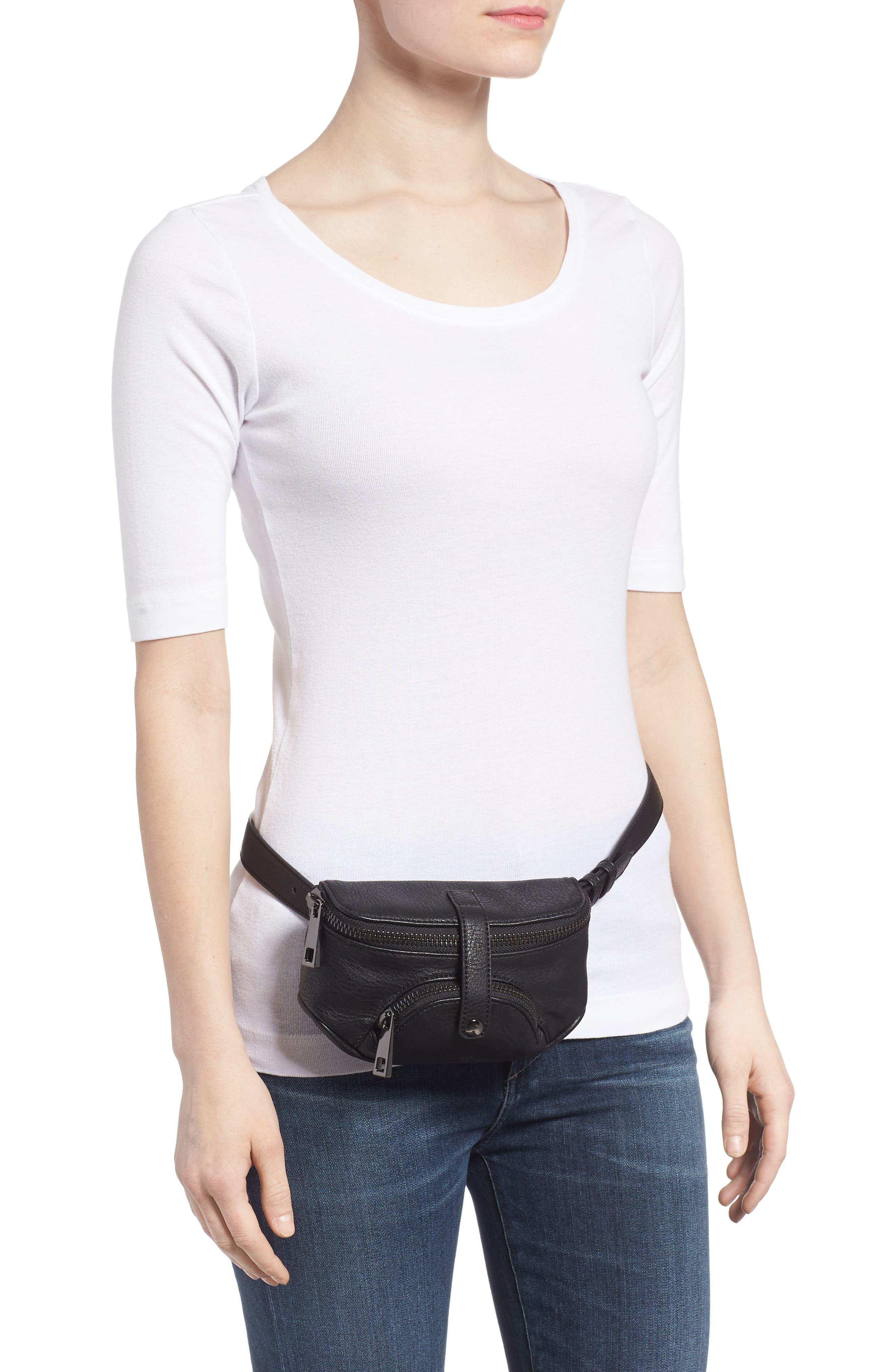 Faux Leather Belt Bag,                             Alternate thumbnail 3, color,                             Black