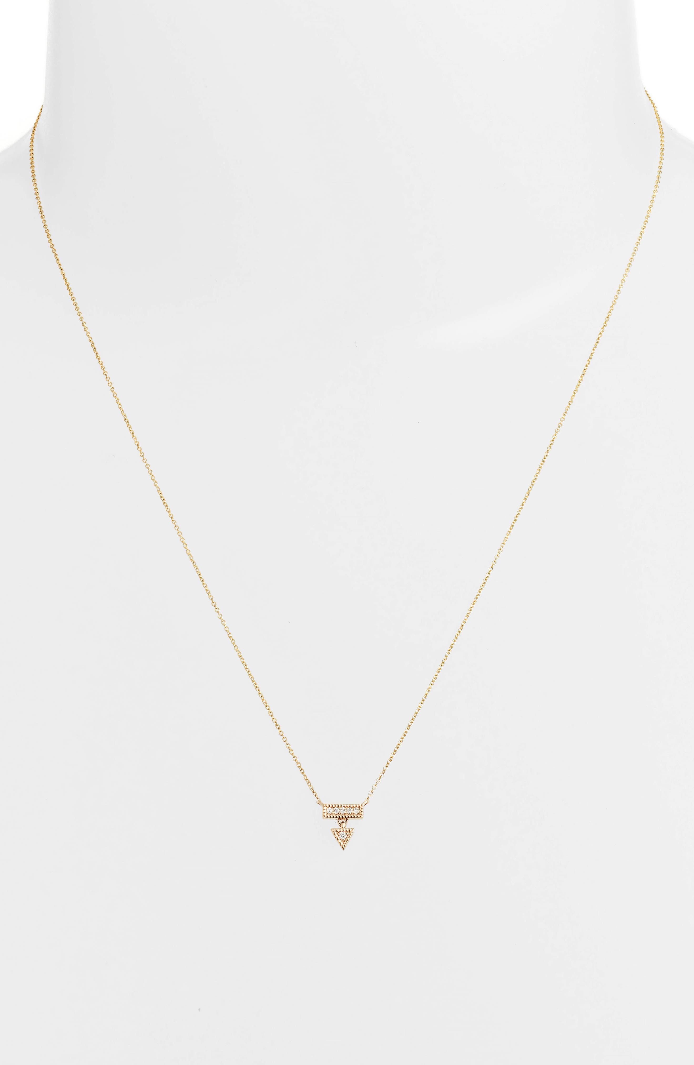 Emily Sarah Diamond Triangle Dangle Necklace,                             Alternate thumbnail 2, color,                             Yellow Gold