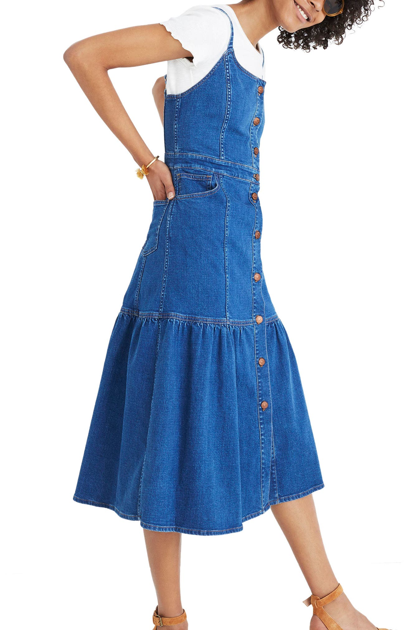 Madewell Bayview Tiered Denim Midi Dress
