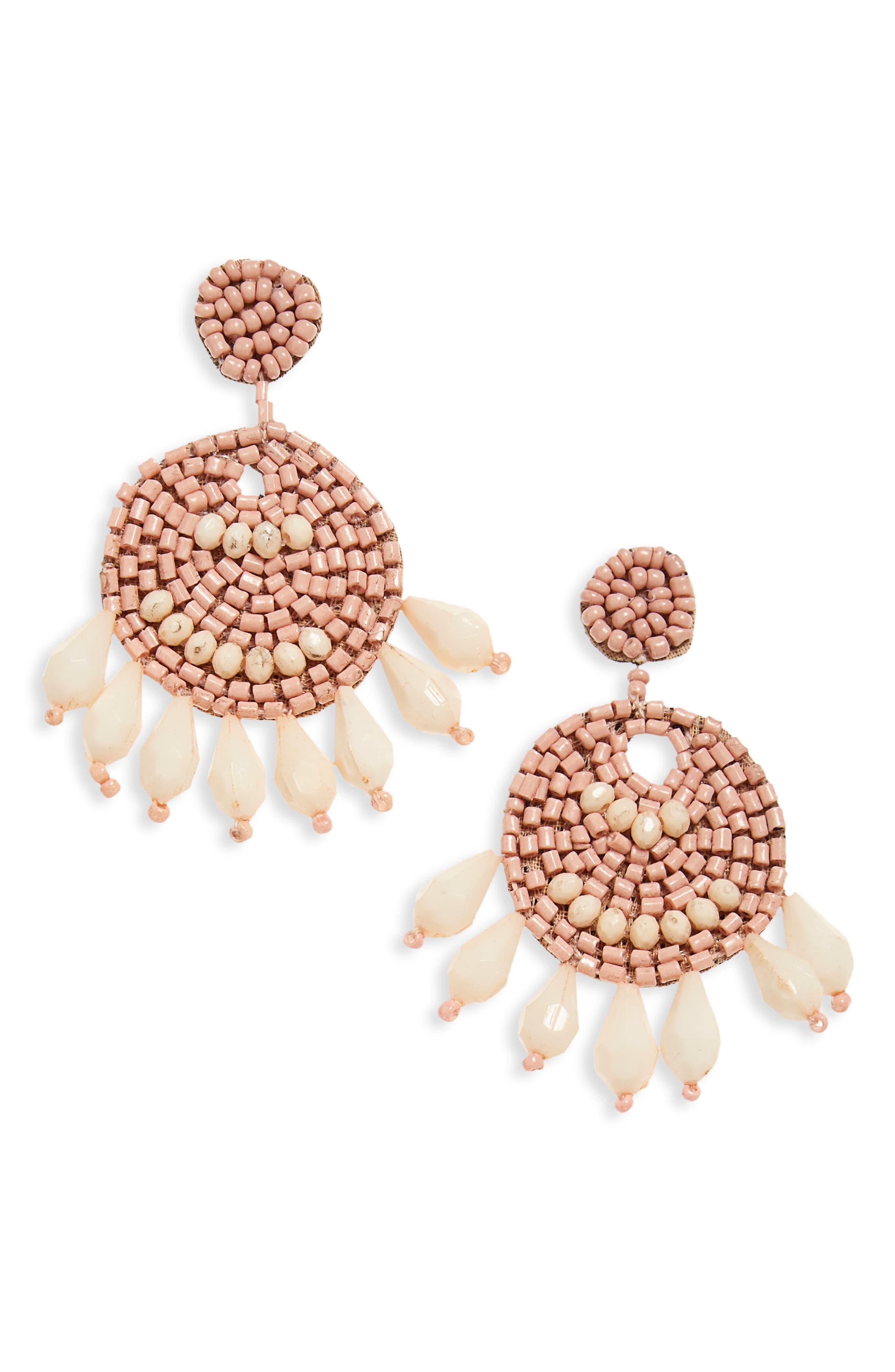 Beaded Drop Earrings,                         Main,                         color, Blush