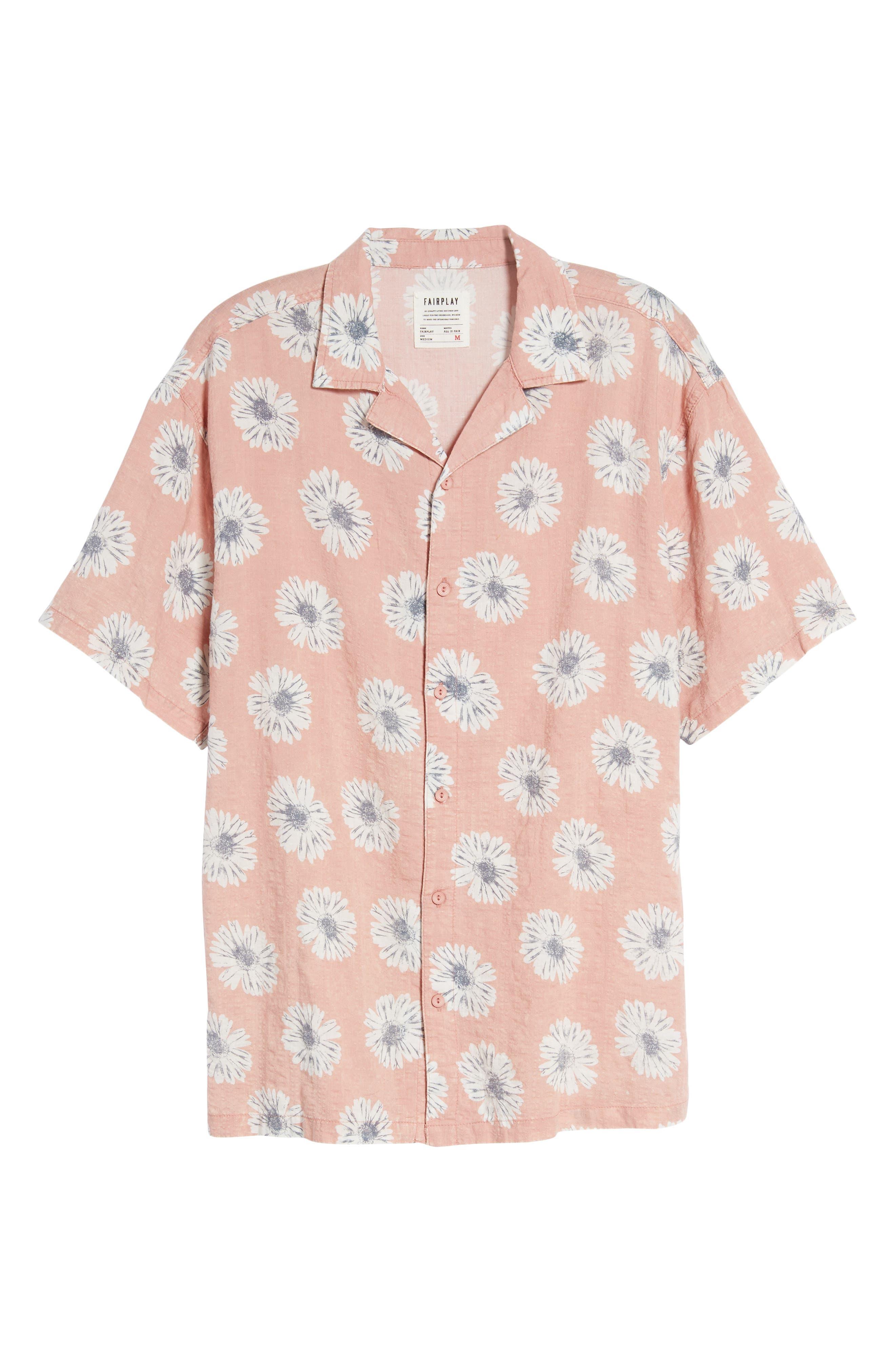 Ferris Woven Shirt,                             Alternate thumbnail 6, color,                             Pink