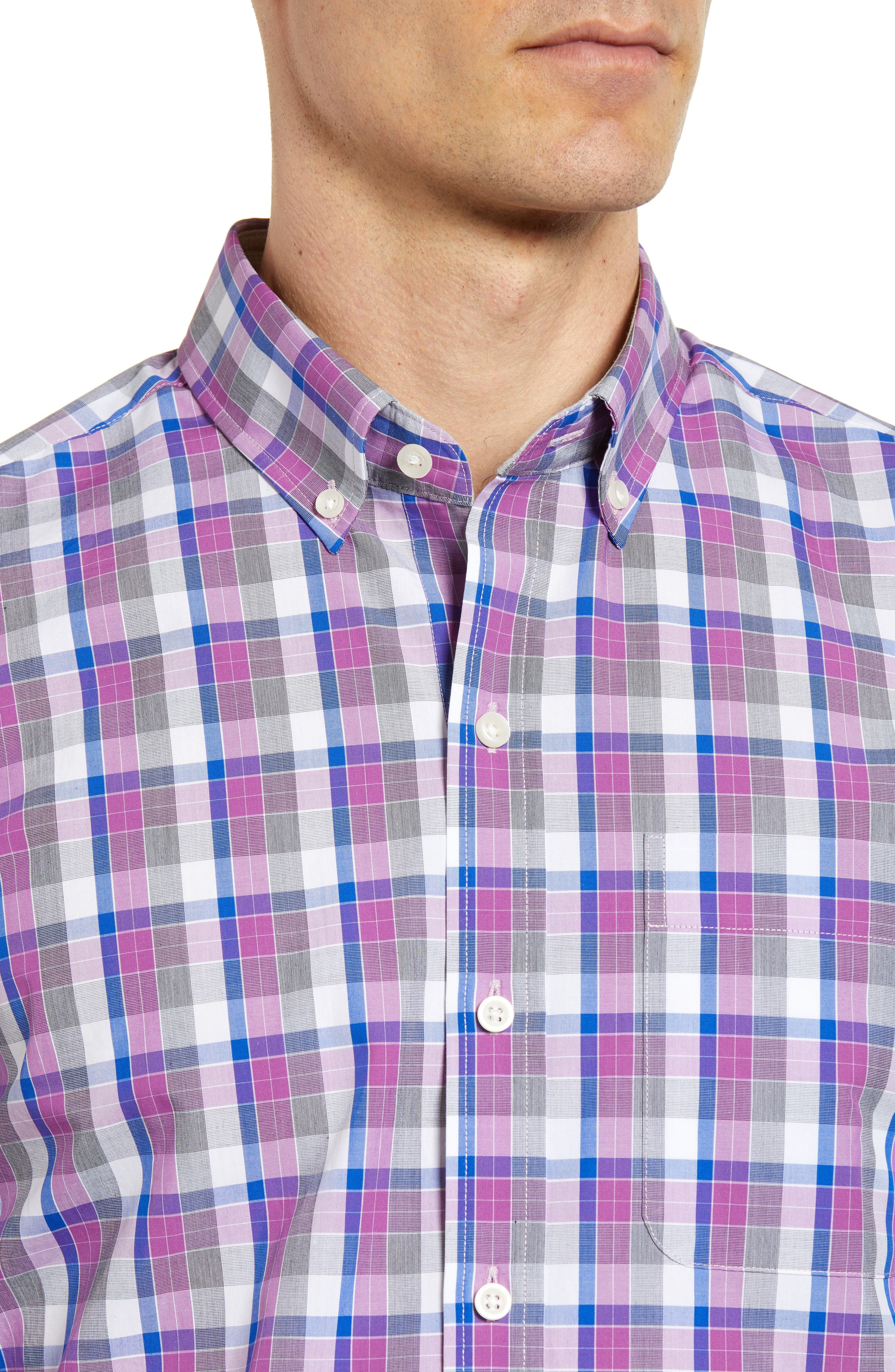 Zachary Non-Iron Plaid Sport Shirt,                             Alternate thumbnail 4, color,                             Magnetic