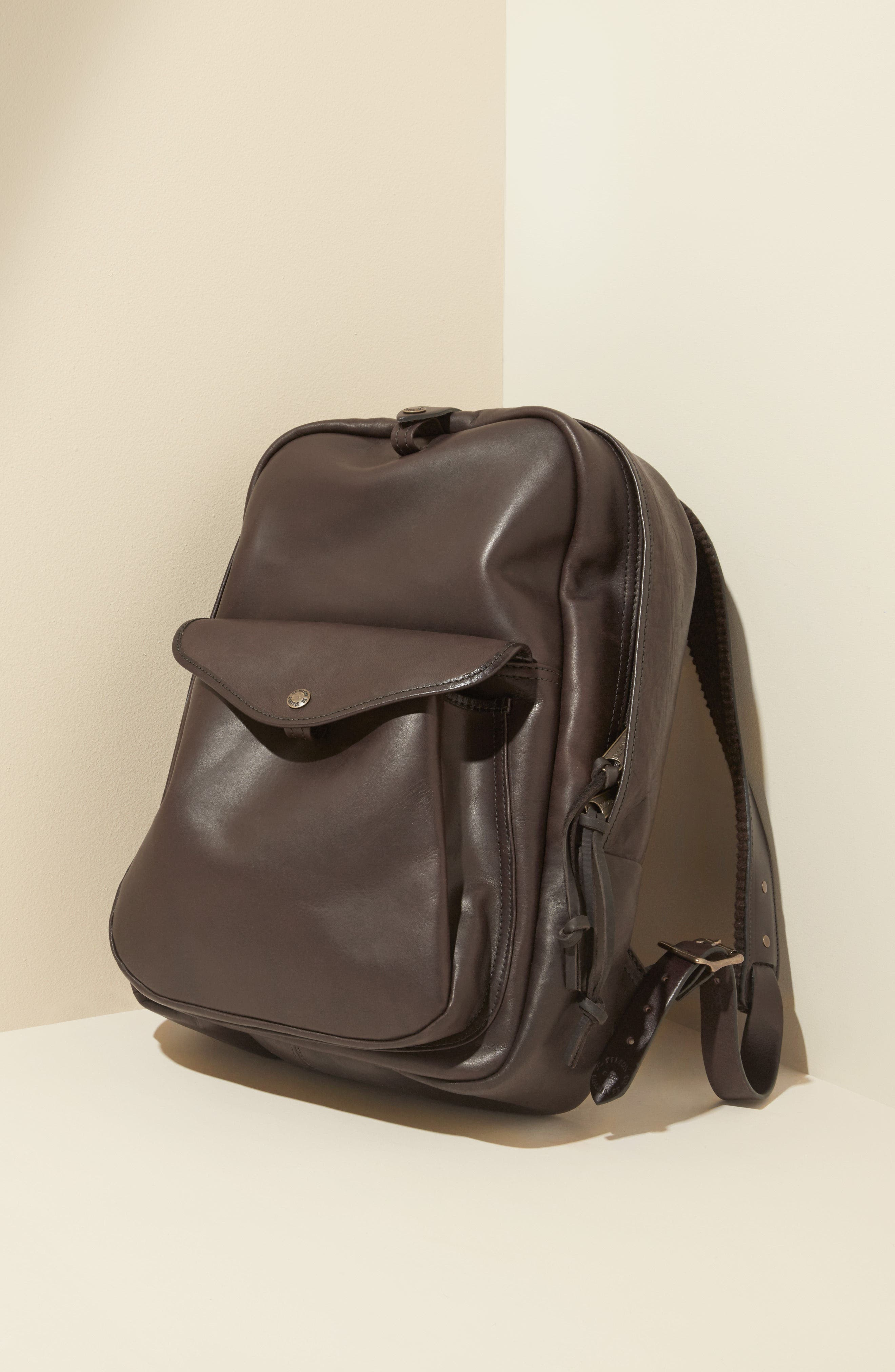 Weatherproof Leather Backpack,                             Alternate thumbnail 5, color,