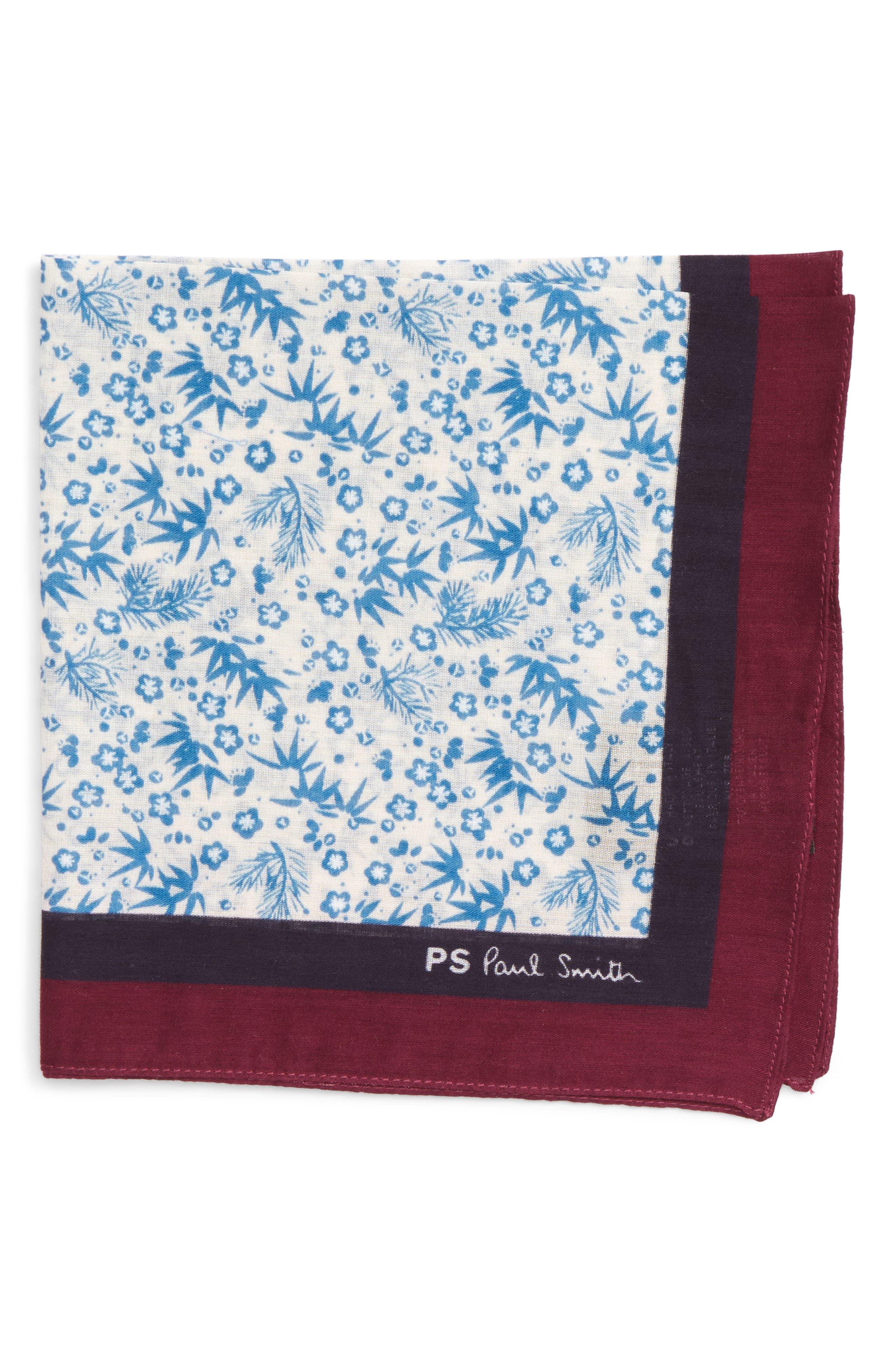 Paul Smith Floral Print Silk Pocket Square