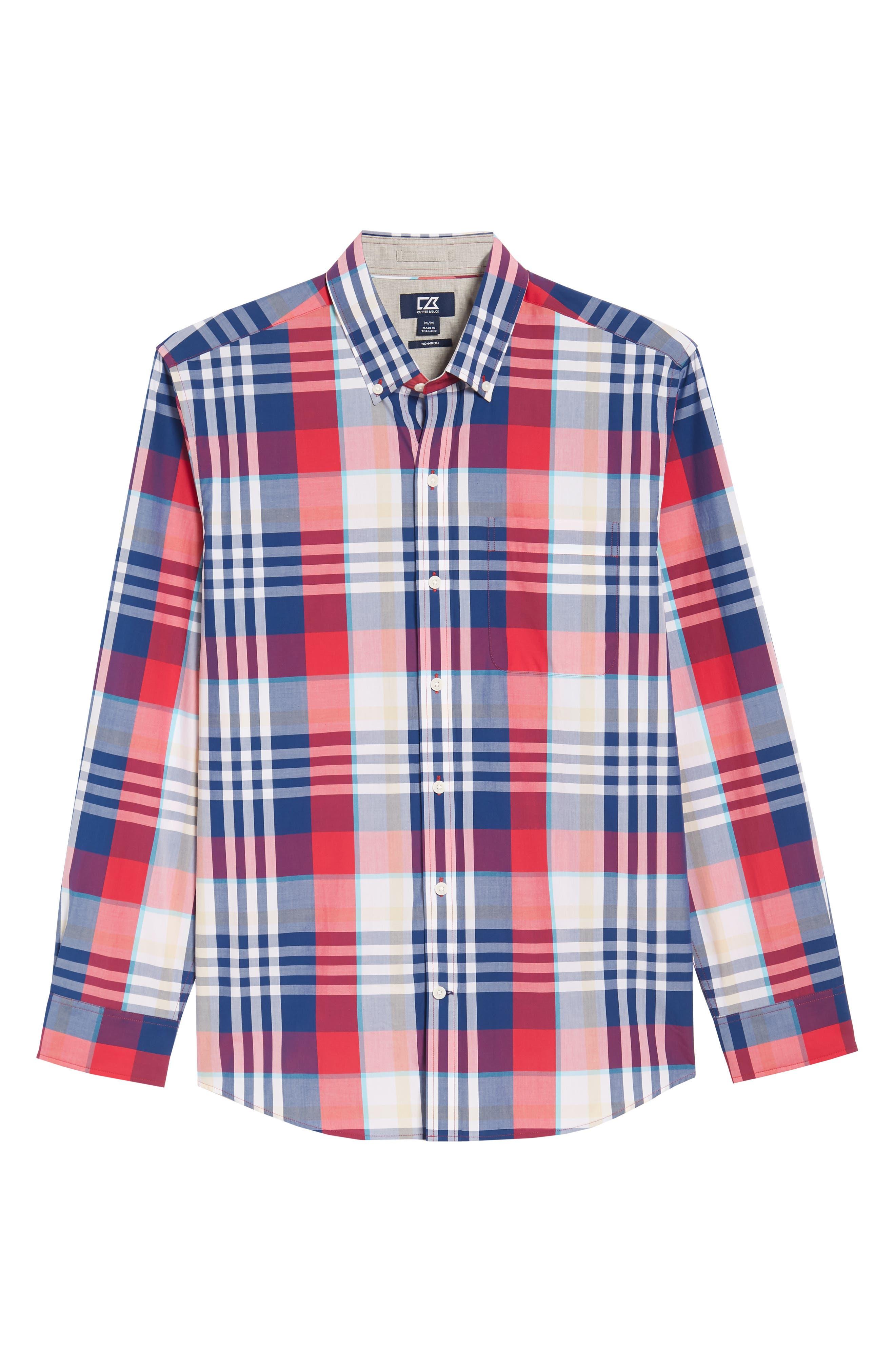 Alternate Image 6  - Cutter & Buck Cooper Classic Fit Non-Iron Plaid Sport Shirt