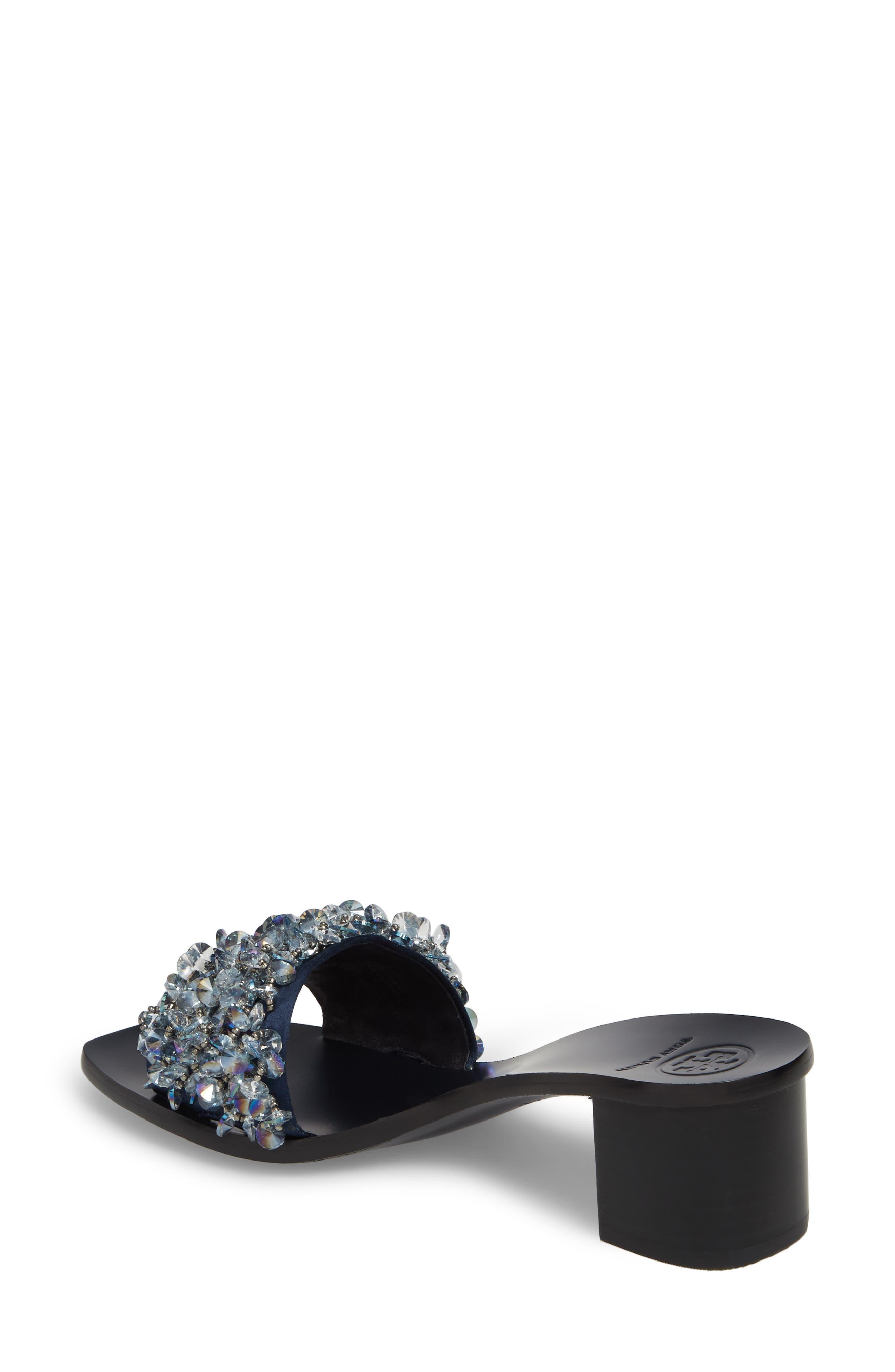 Logan Embellished Slide Sandal,                             Alternate thumbnail 2, color,                             Gray/ Perfect Navy