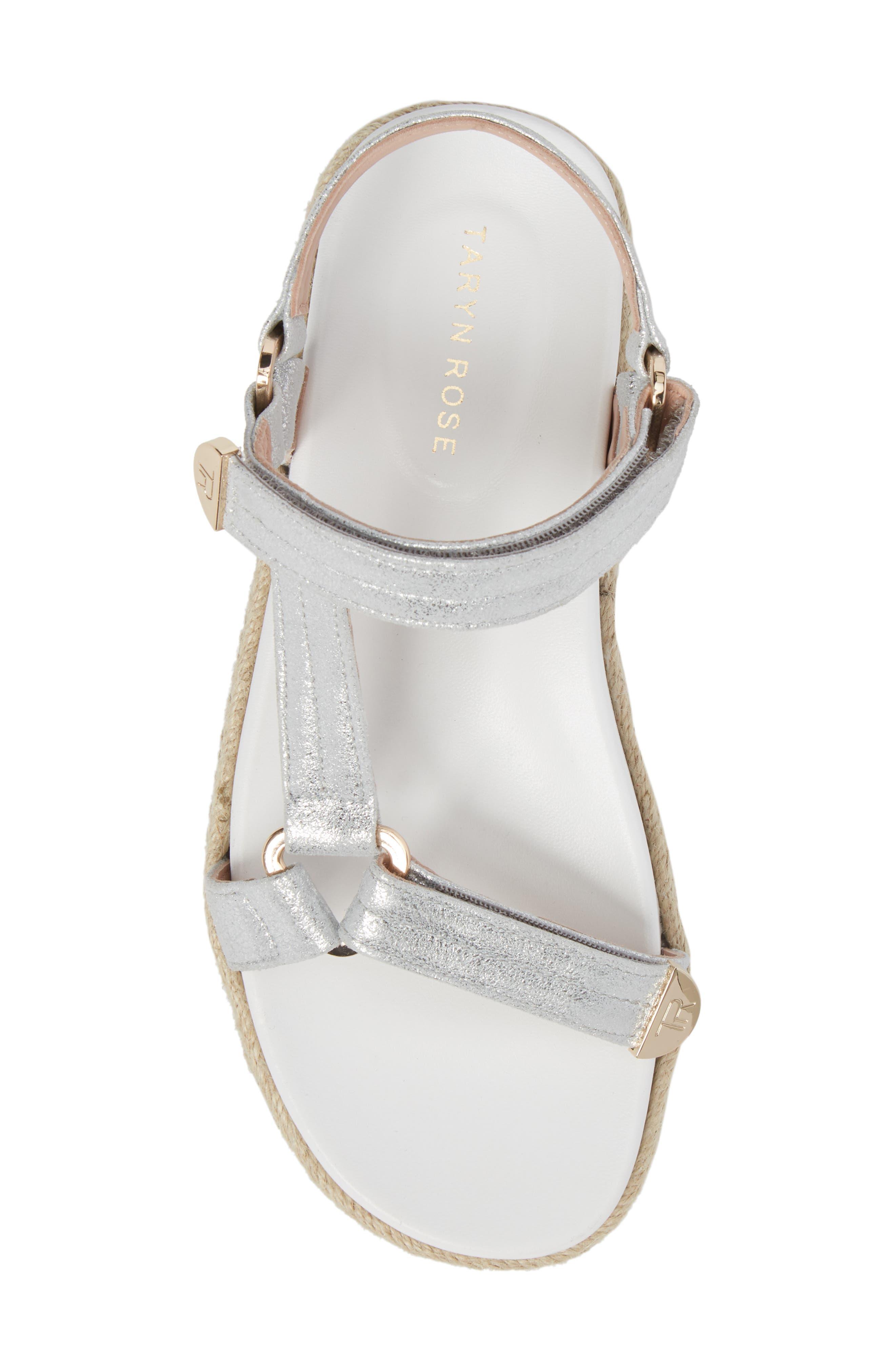 Lydia Platform Sport Sandal,                             Alternate thumbnail 5, color,                             Silver Leather