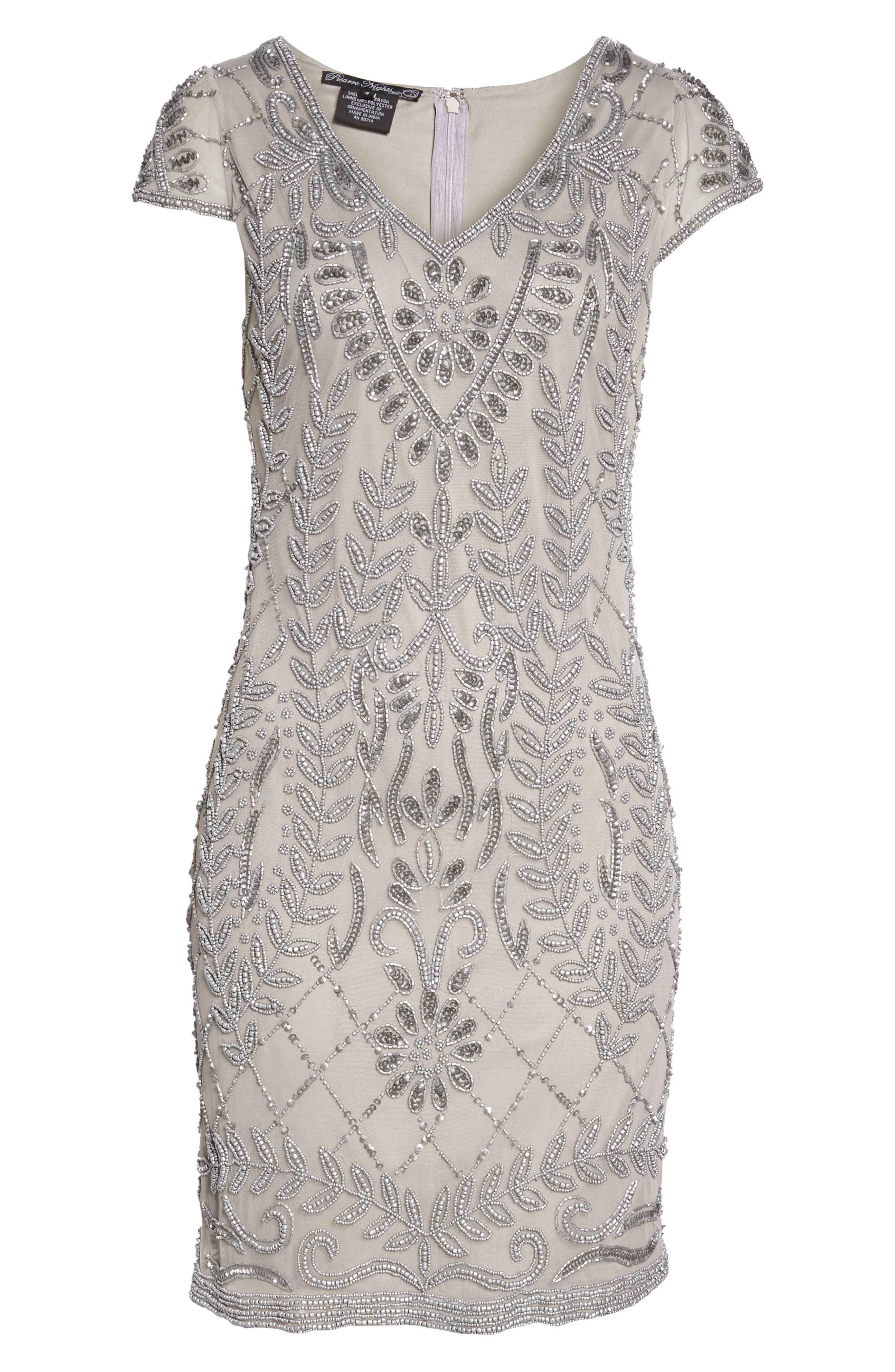 Beaded Sheath Dress,                             Alternate thumbnail 6, color,                             Silver
