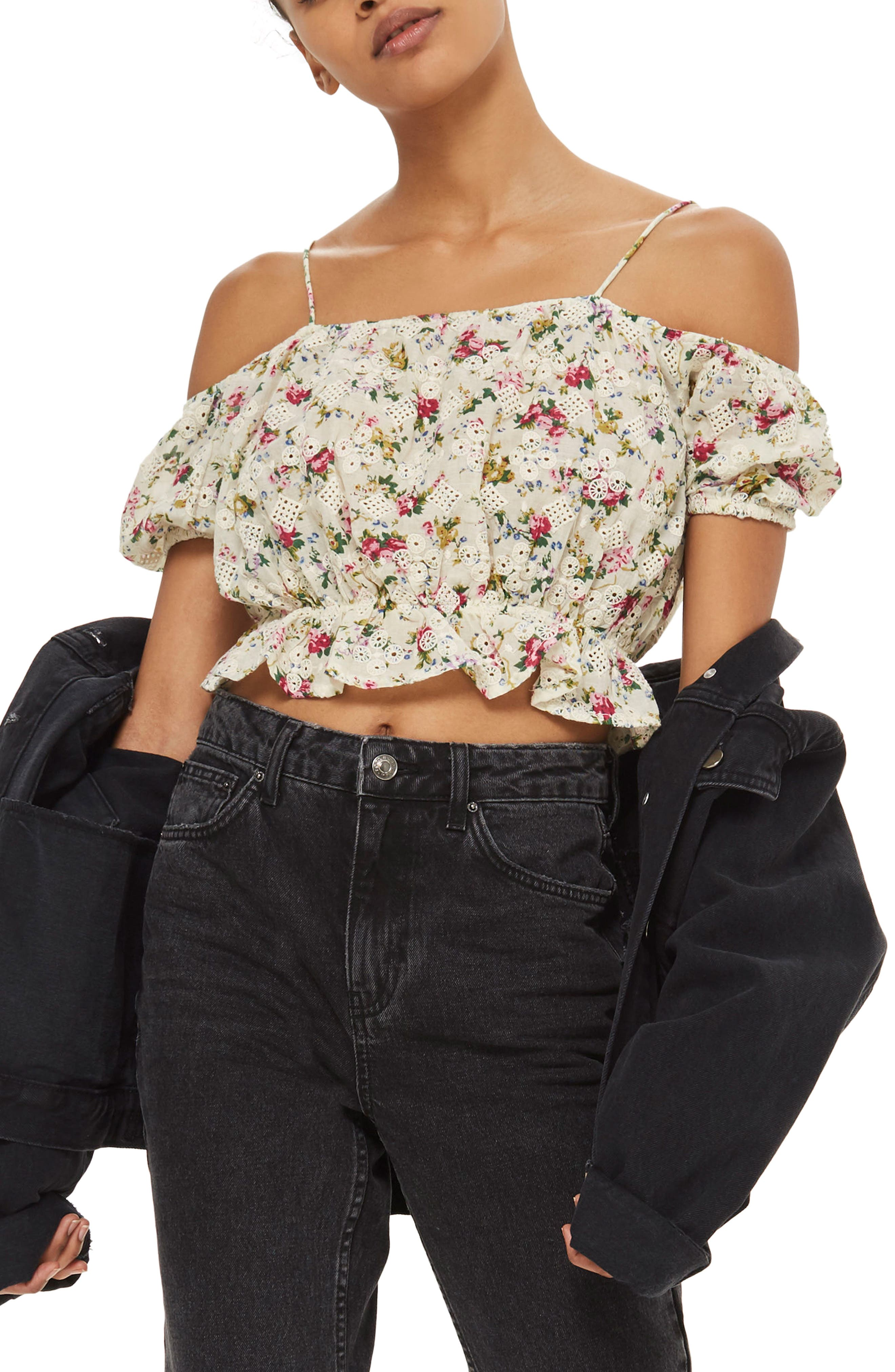 Broderie Floral Print Bardot Top,                             Main thumbnail 1, color,                             Ivory Multi