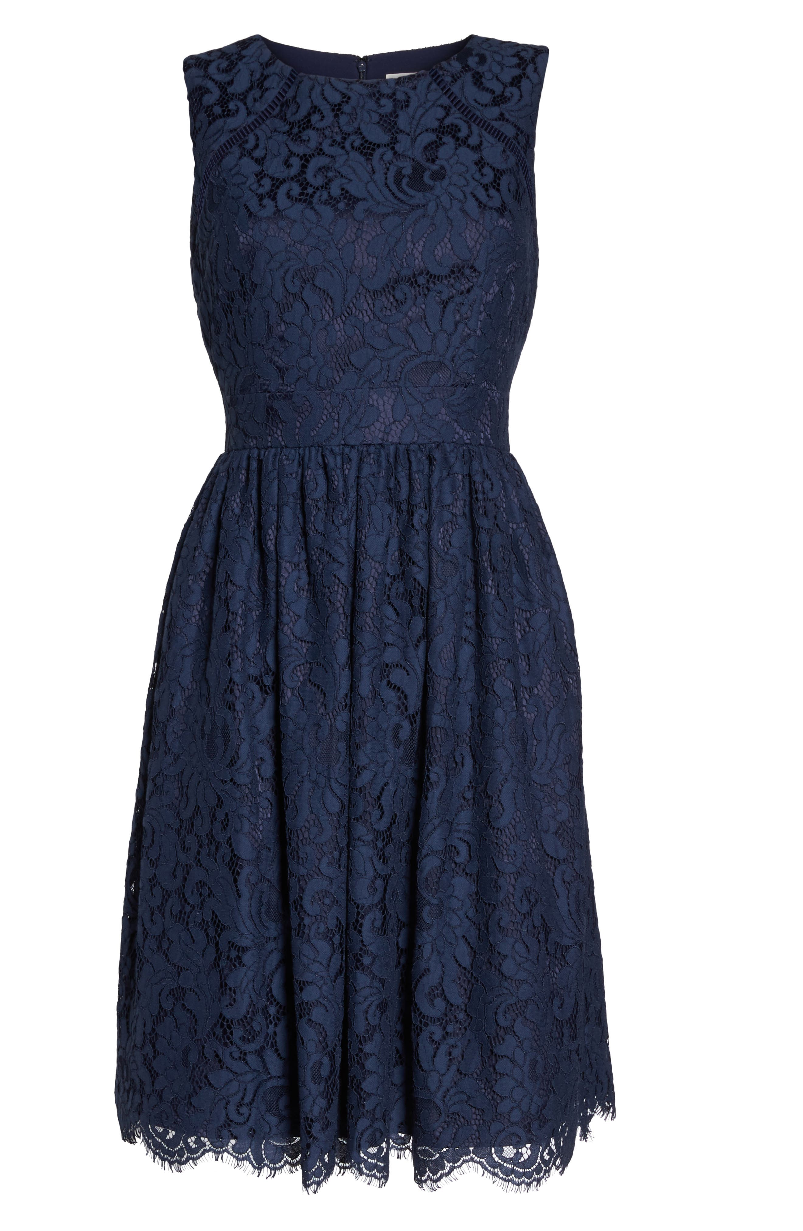 Sleeveless Lace Fit & Flare Dress,                             Alternate thumbnail 7, color,                             Navy