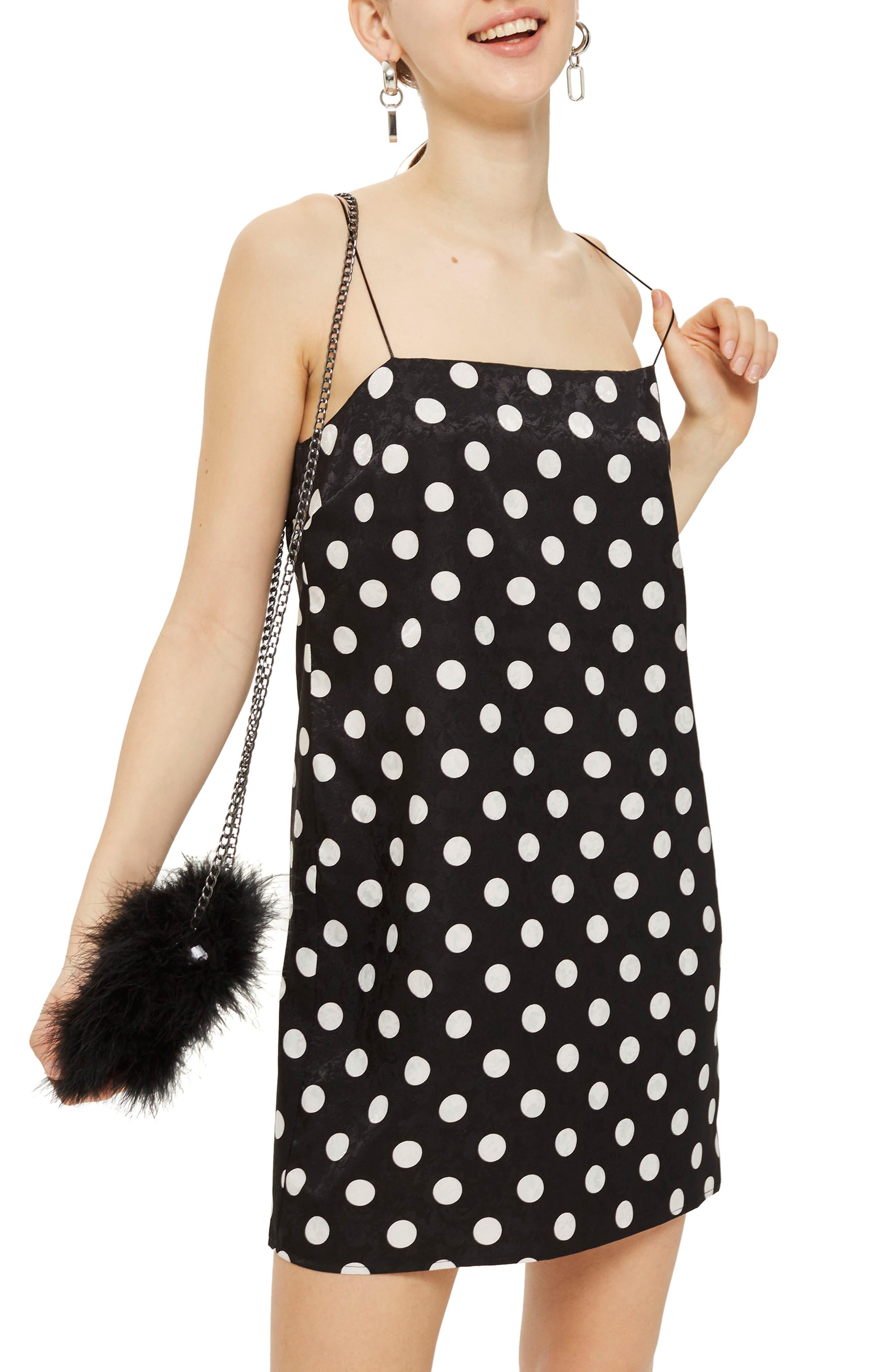 Square Neck Jacquard Mini Slipdress,                         Main,                         color, Black Multi