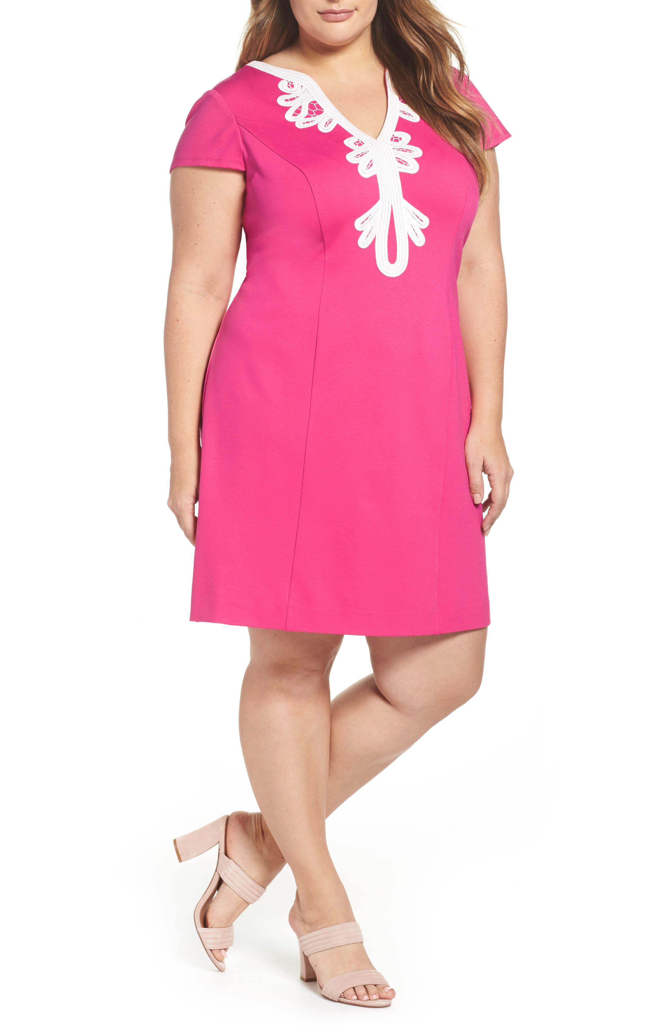 Embroidered Ponte Sheath Dress,                             Main thumbnail 1, color,                             Pink