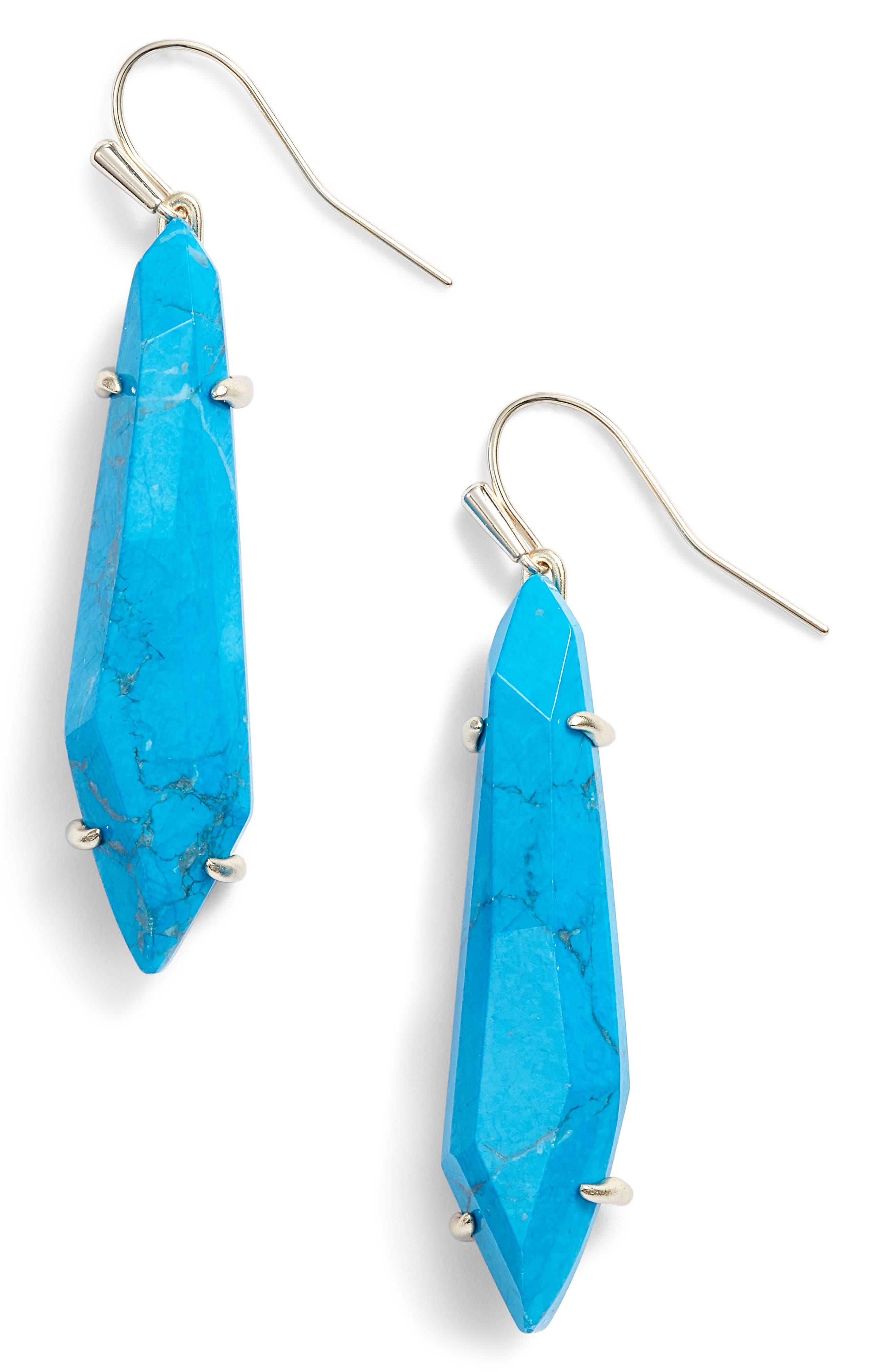 Grey Drop Earrings,                             Main thumbnail 1, color,                             Aqua Howlite/ Gold