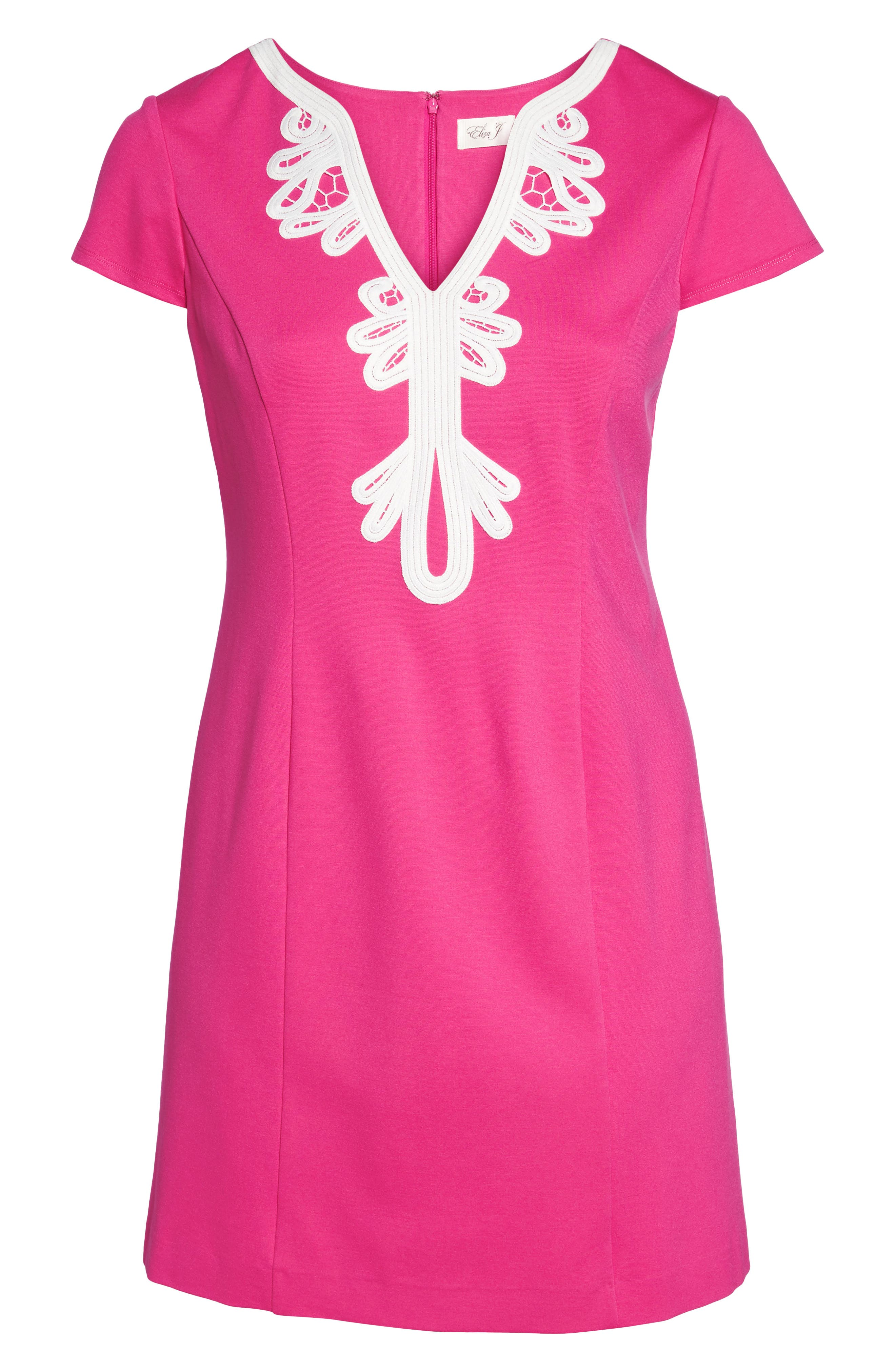 Embroidered Ponte Sheath Dress,                             Alternate thumbnail 7, color,                             Pink