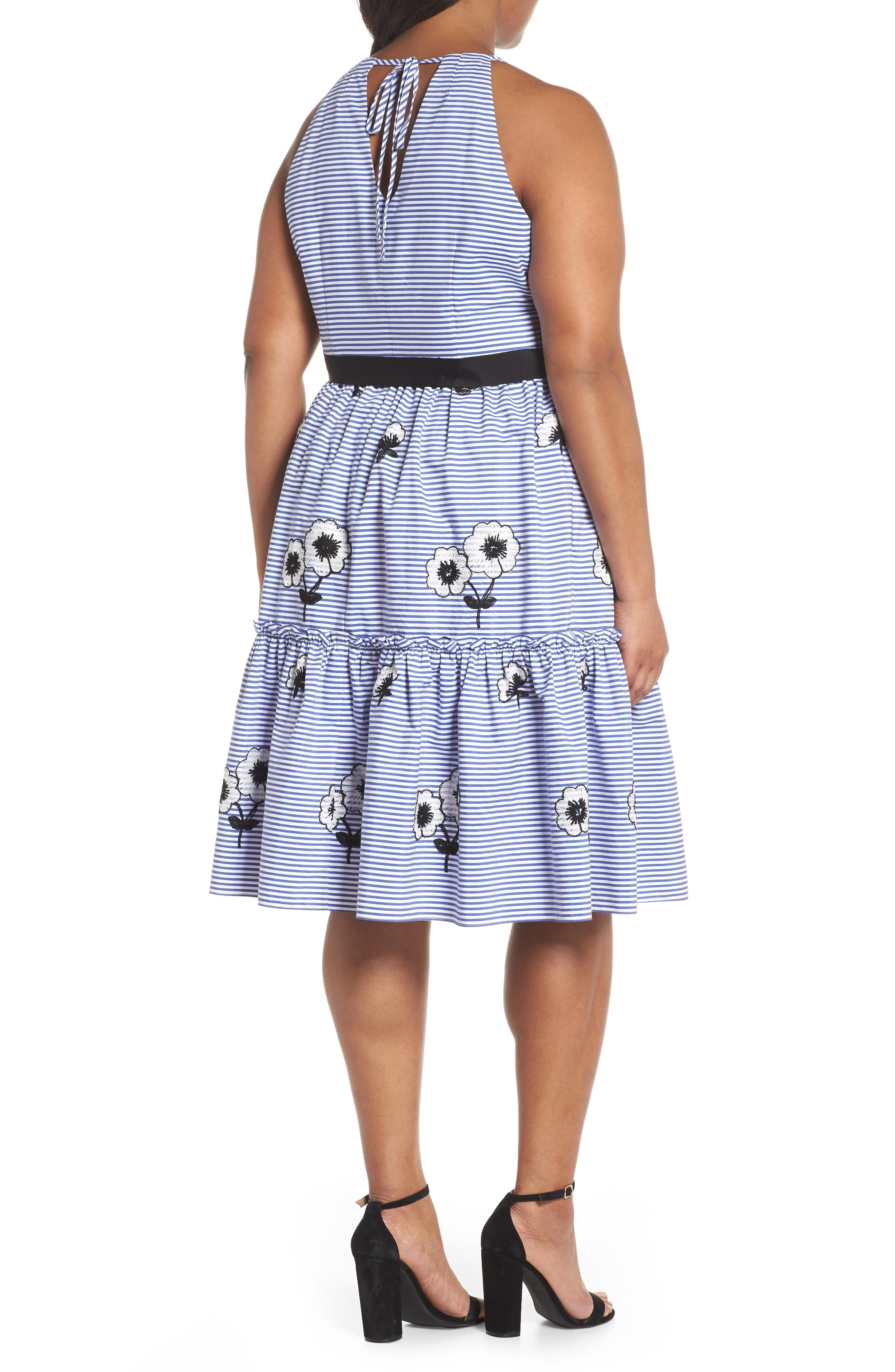 Embroidered Stripe Fit & Flare Dress,                             Alternate thumbnail 2, color,                             Blue/ White