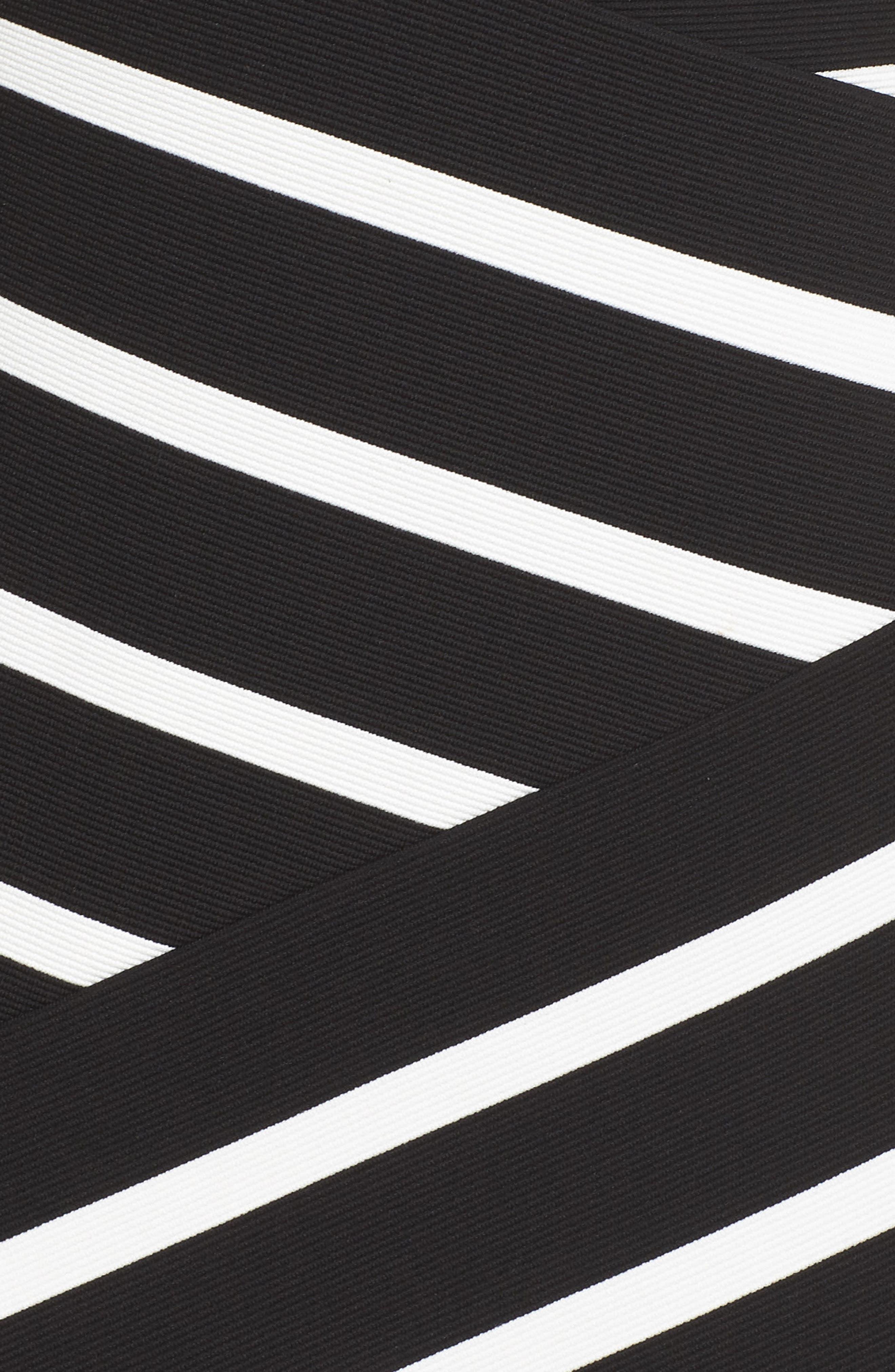 Ottoman Striped Sheath Dress,                             Alternate thumbnail 5, color,                             Black/ Ivory