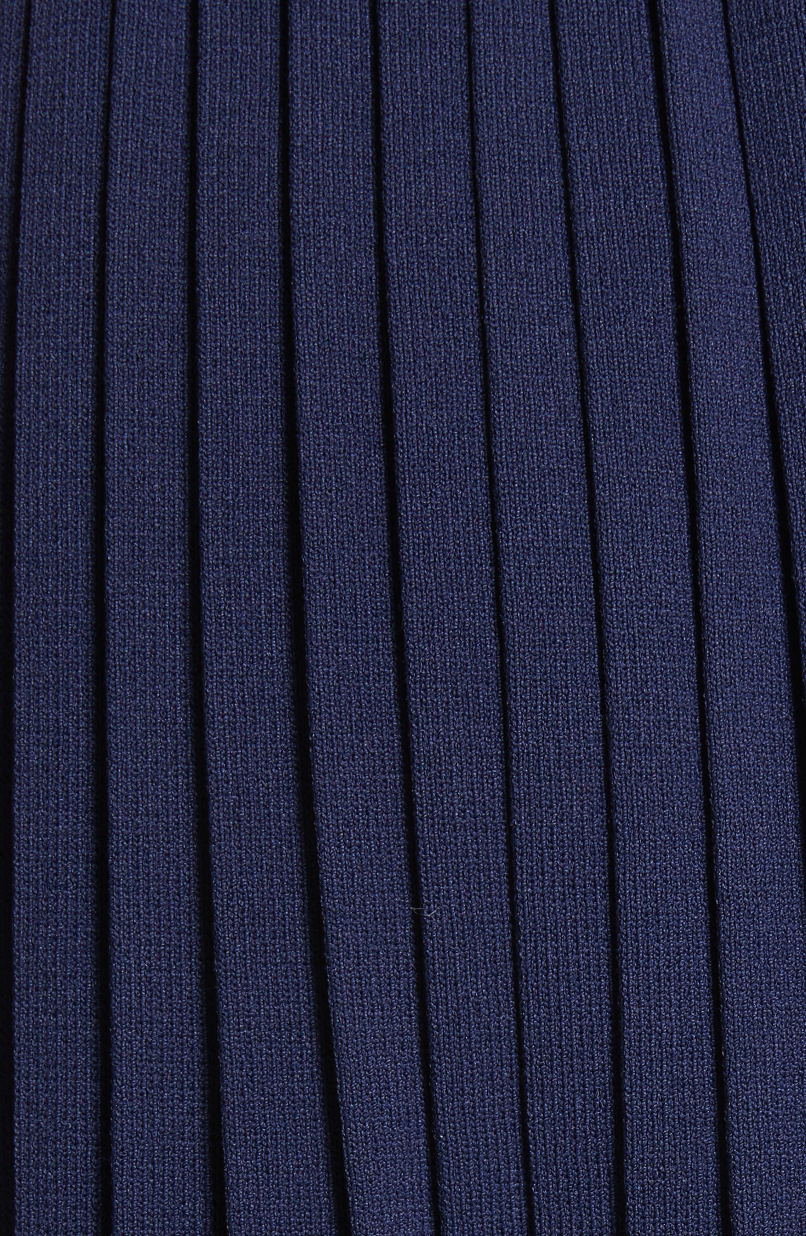 Pleated Midi Skirt,                             Alternate thumbnail 5, color,                             Navy