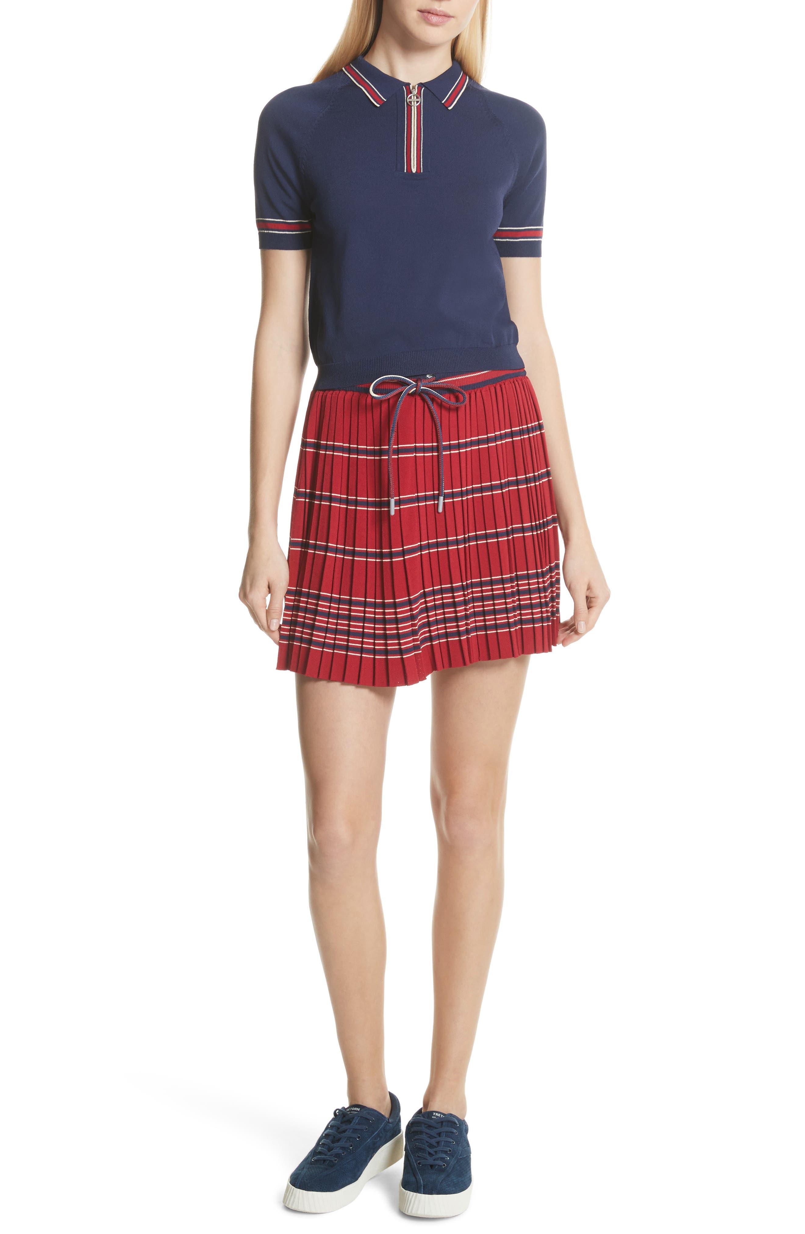 Pleated Miniskirt,                             Alternate thumbnail 2, color,                             Bordeaux