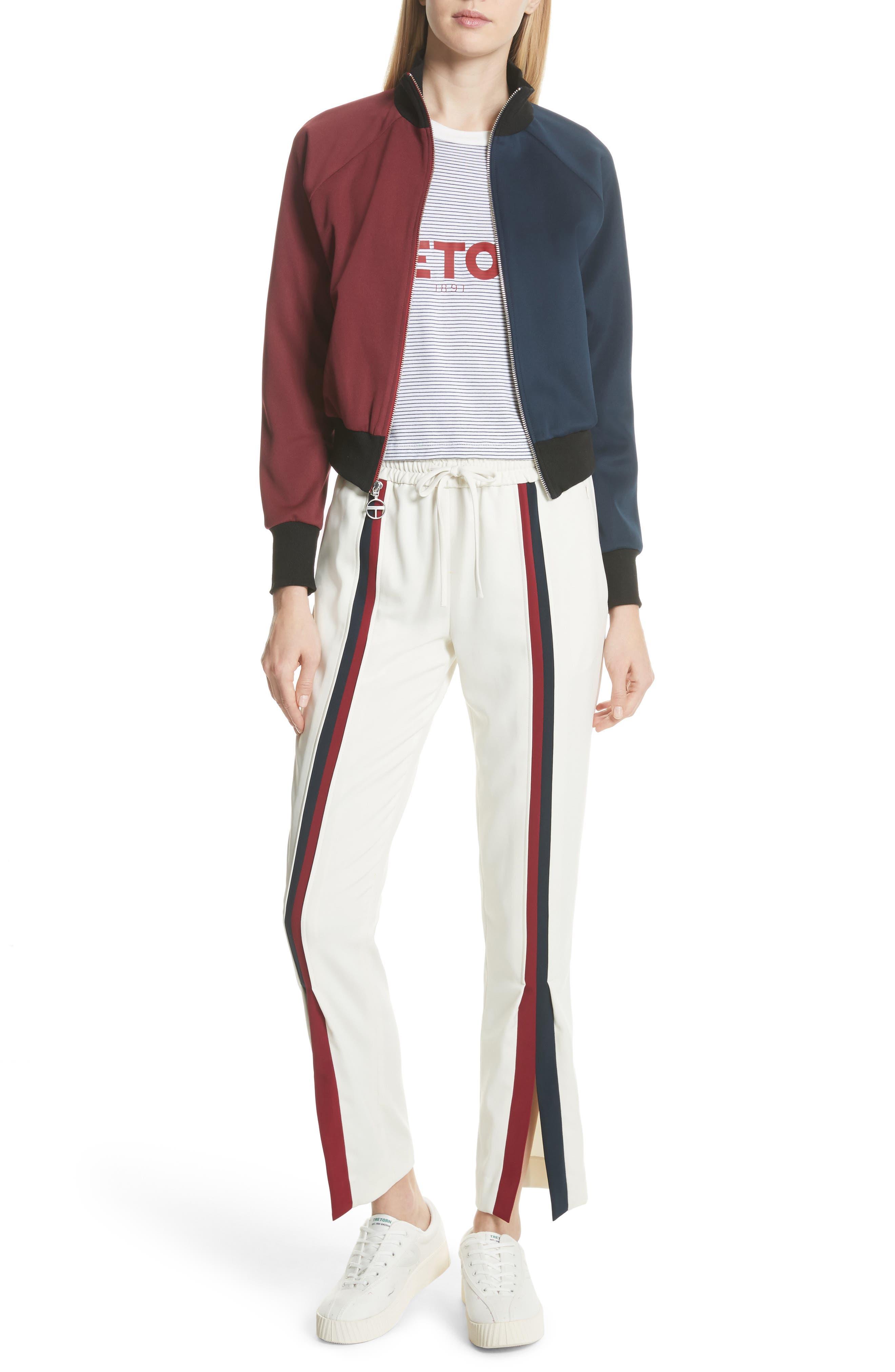 Colorblock Zip Sweatshirt,                             Alternate thumbnail 2, color,                             Bordeaux/ Navy