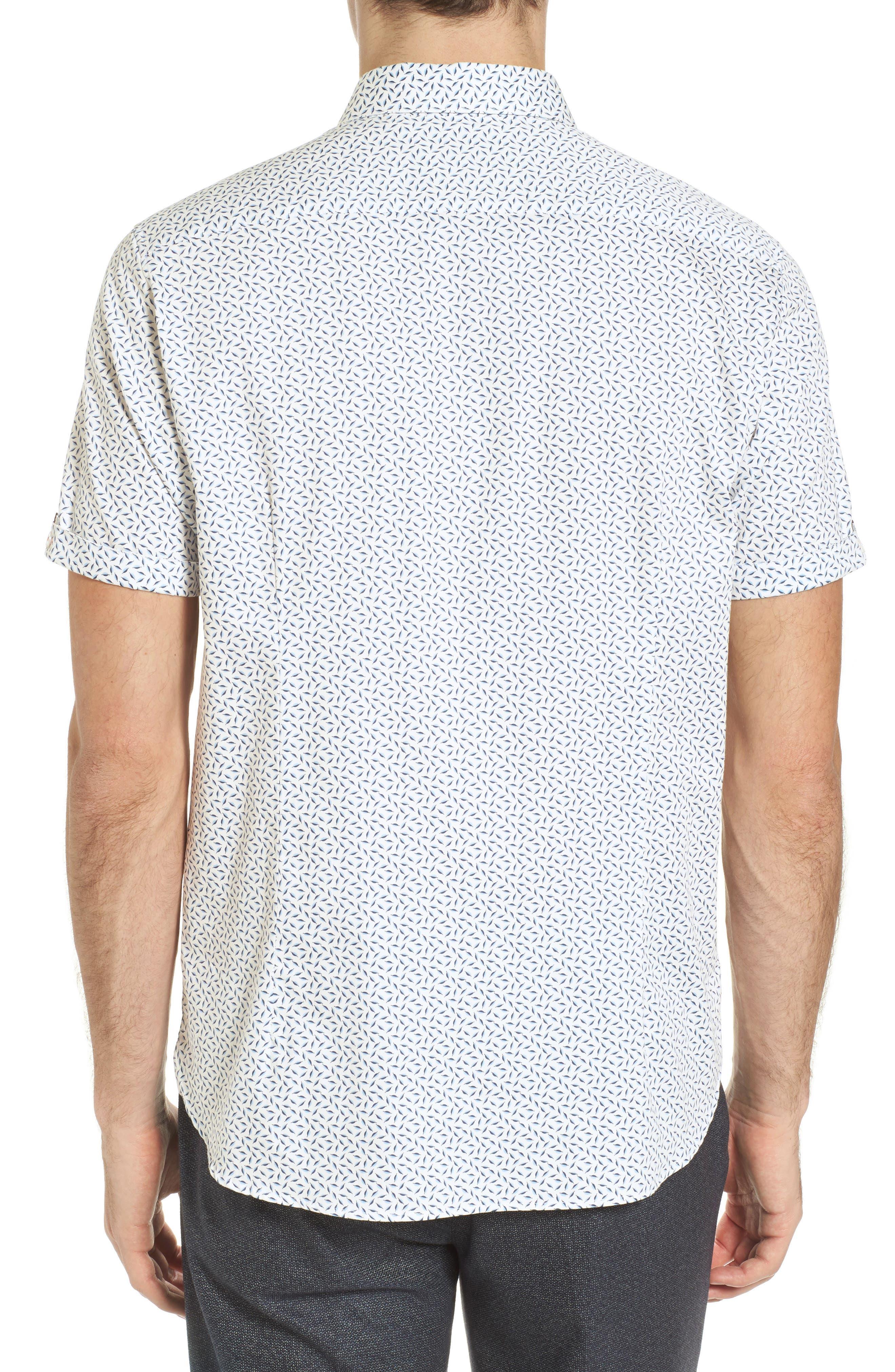 Narnar Trim Fit Geo Print Camp Shirt,                             Alternate thumbnail 3, color,                             White