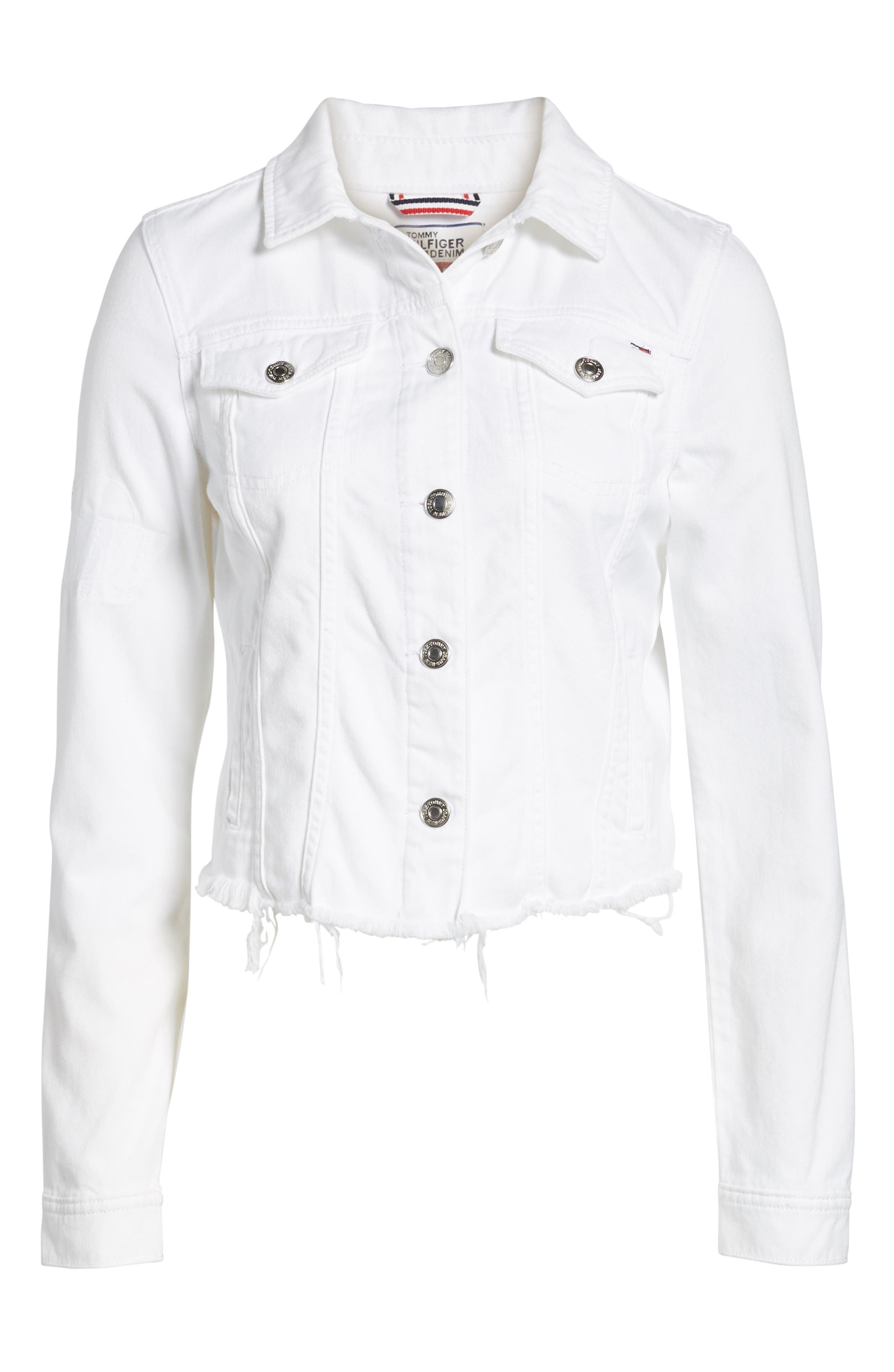 Slim Trucker Denim Jacket,                             Alternate thumbnail 7, color,                             Soft White Rigid